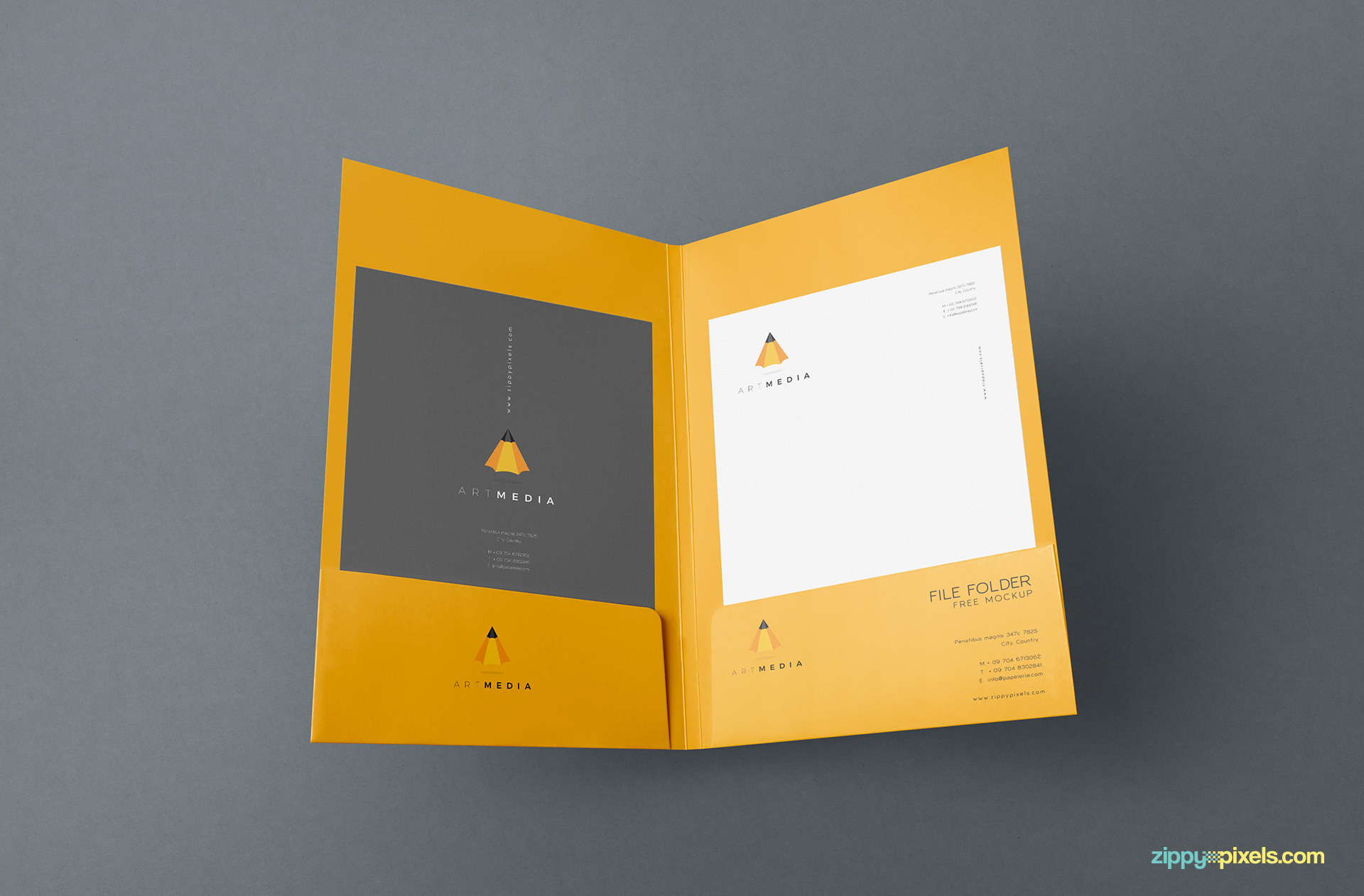 Full view of the folder mockups from inside.