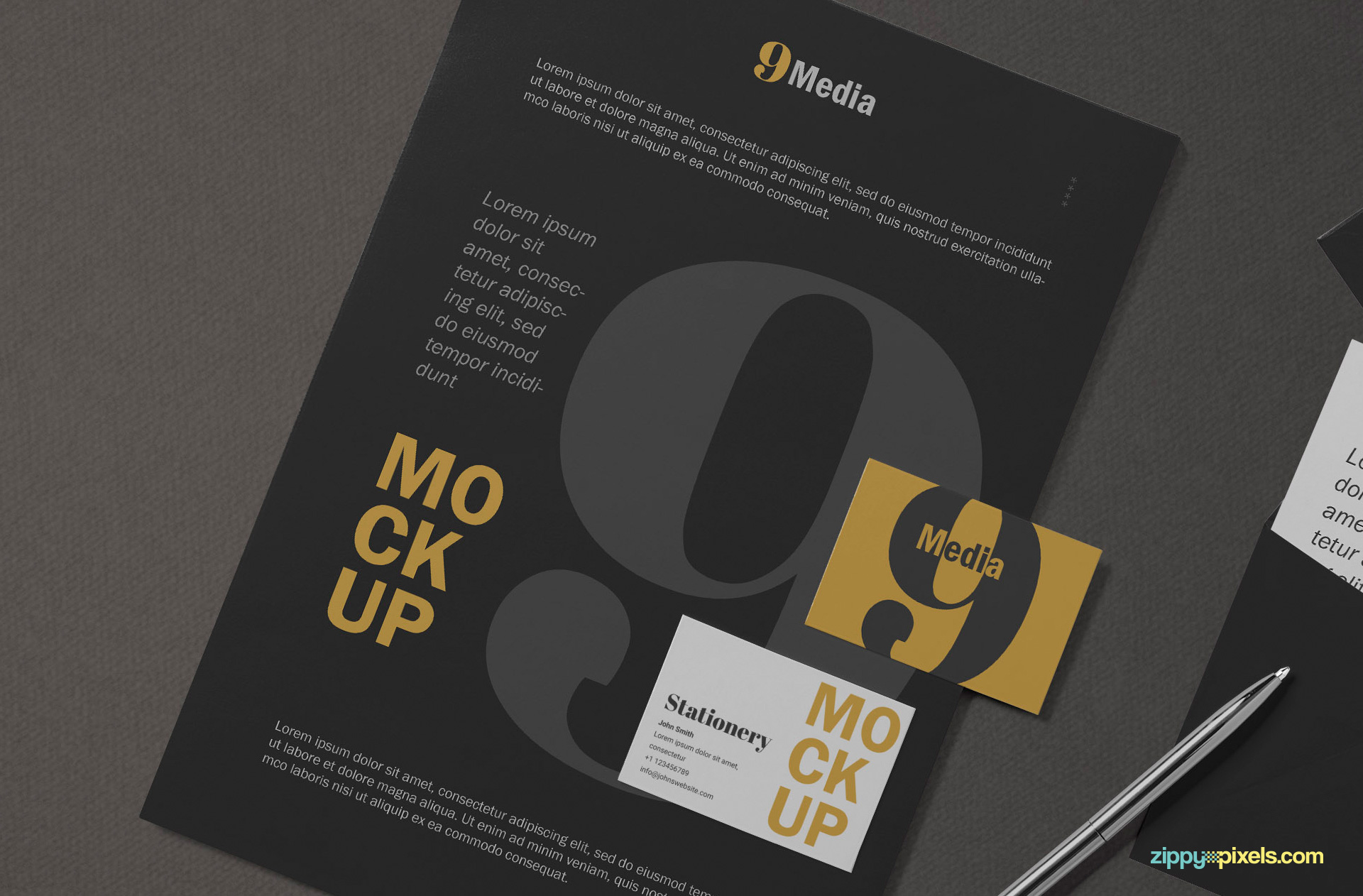 Business card placed on A4 letterhead mockup.