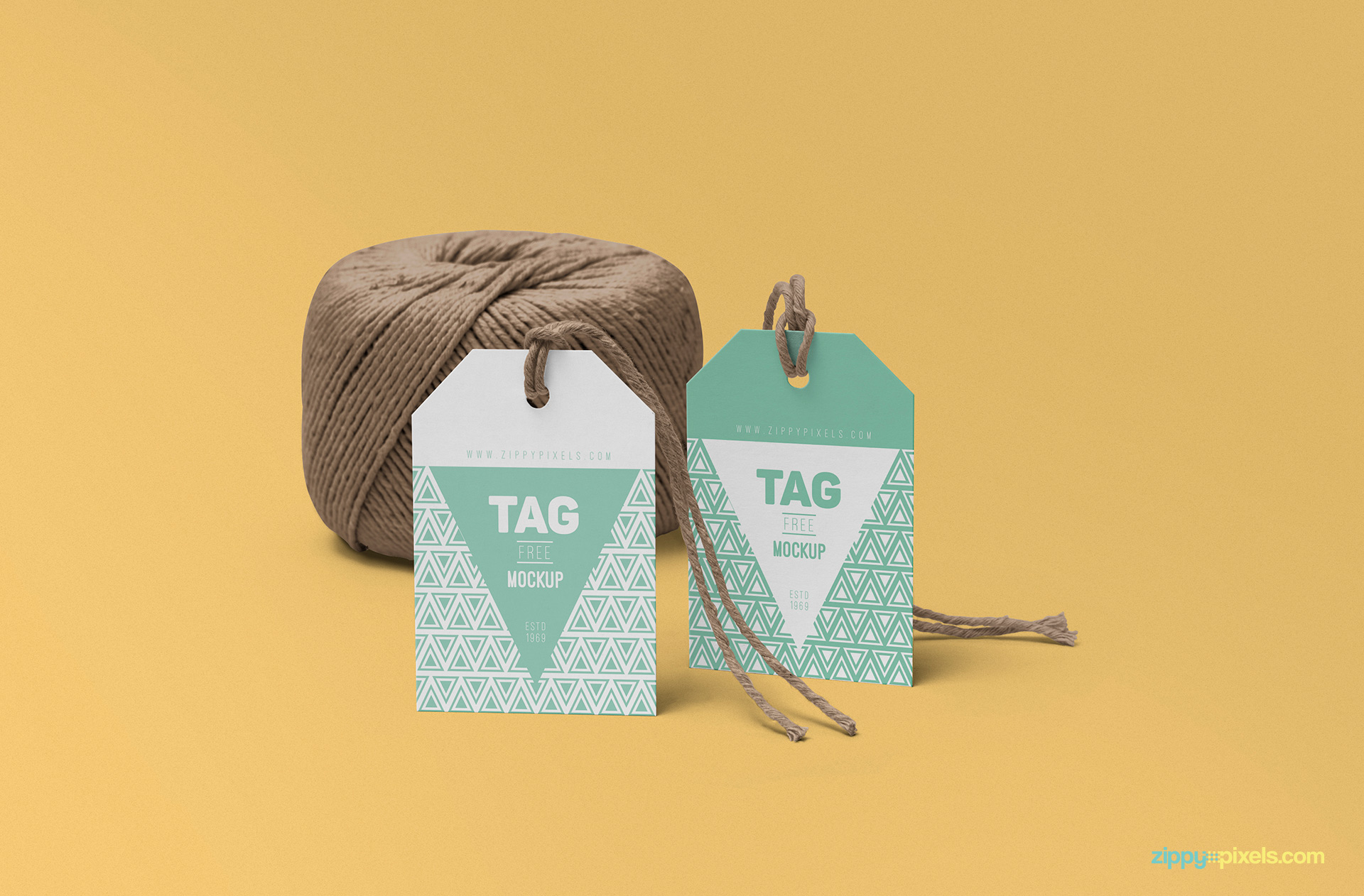 Add any single background to this tag mockup PSD free.