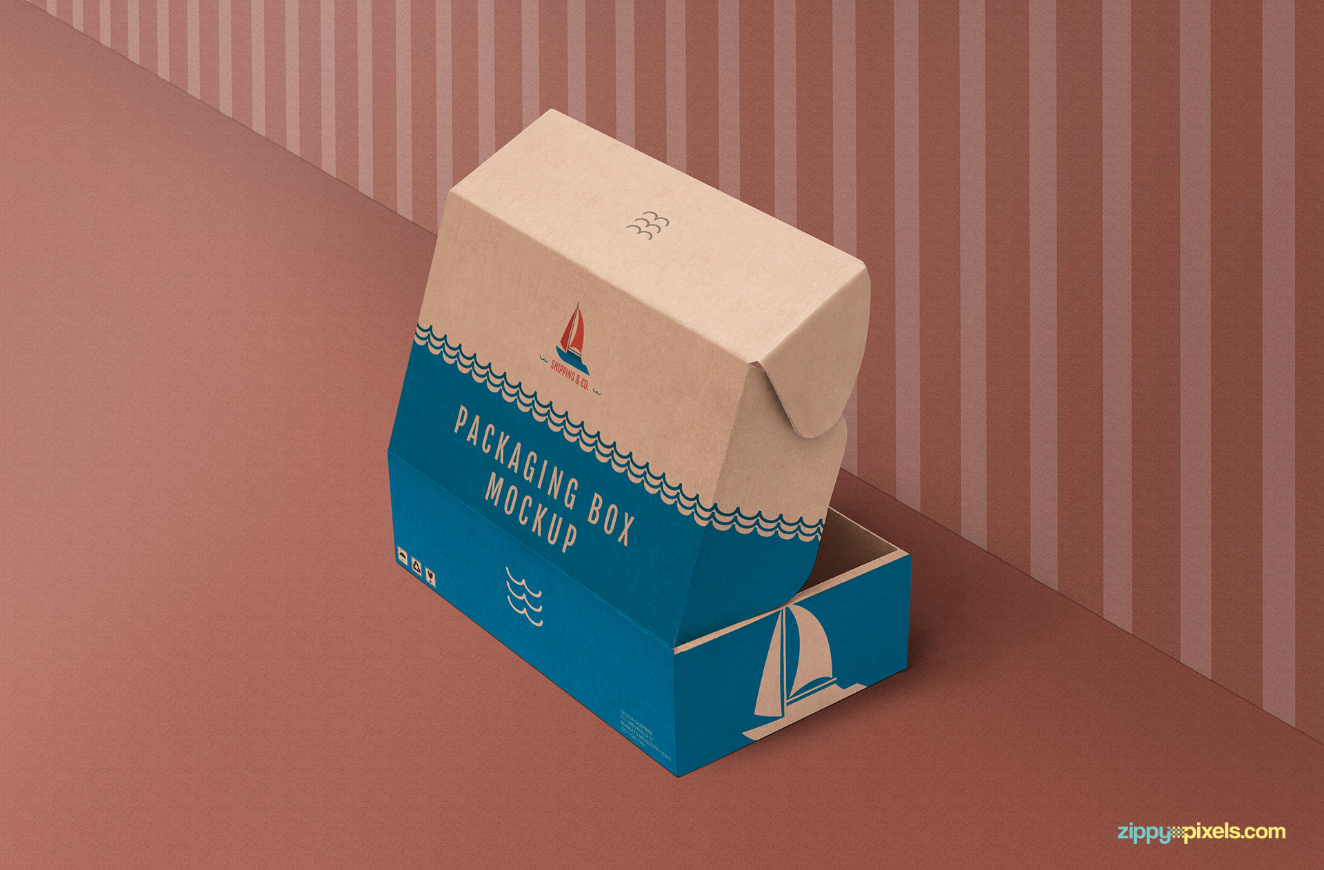 All visible sides of this kraft box mockup are customizable.