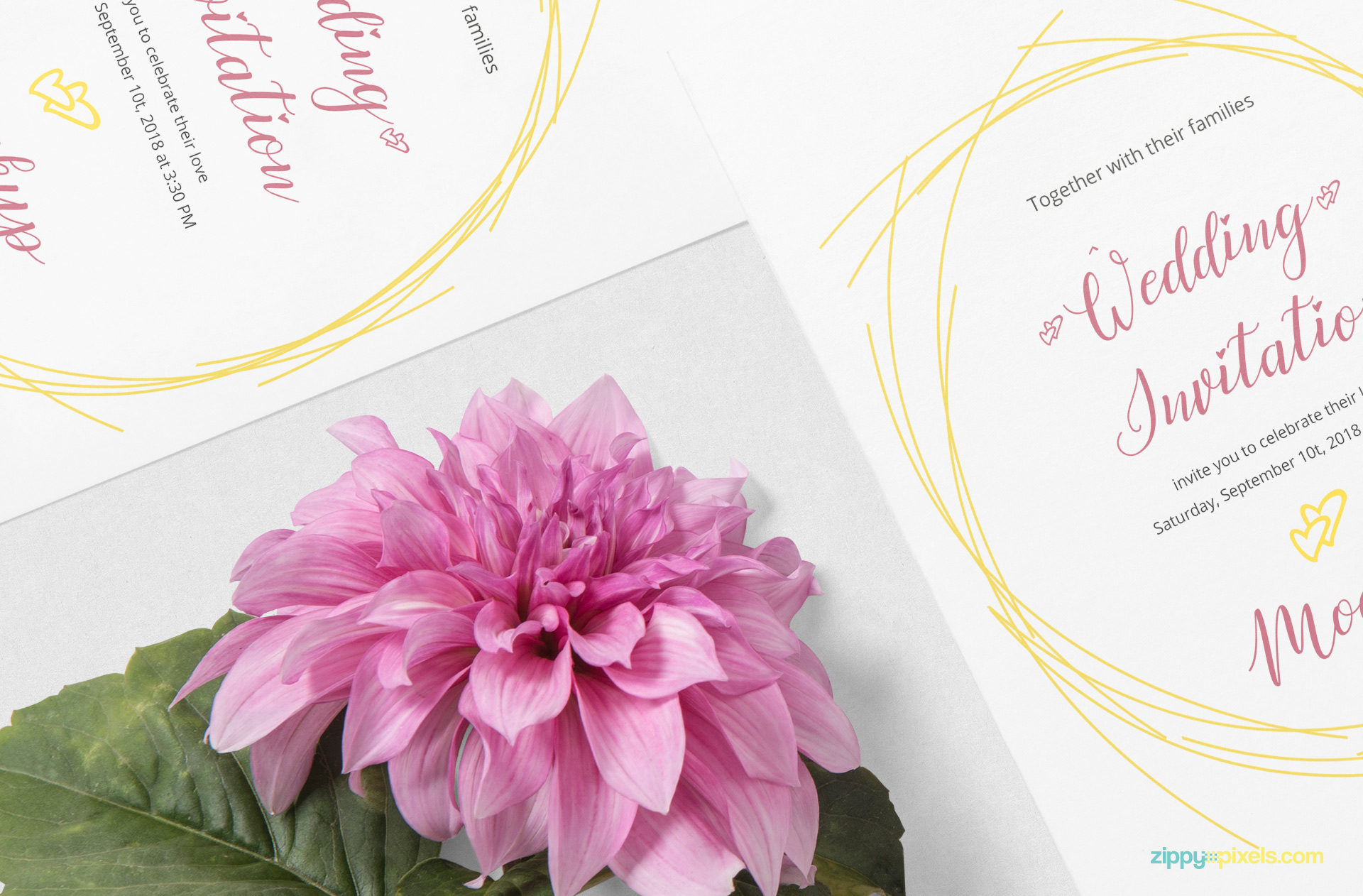 A beautiful hide-able flower is placed beside card.