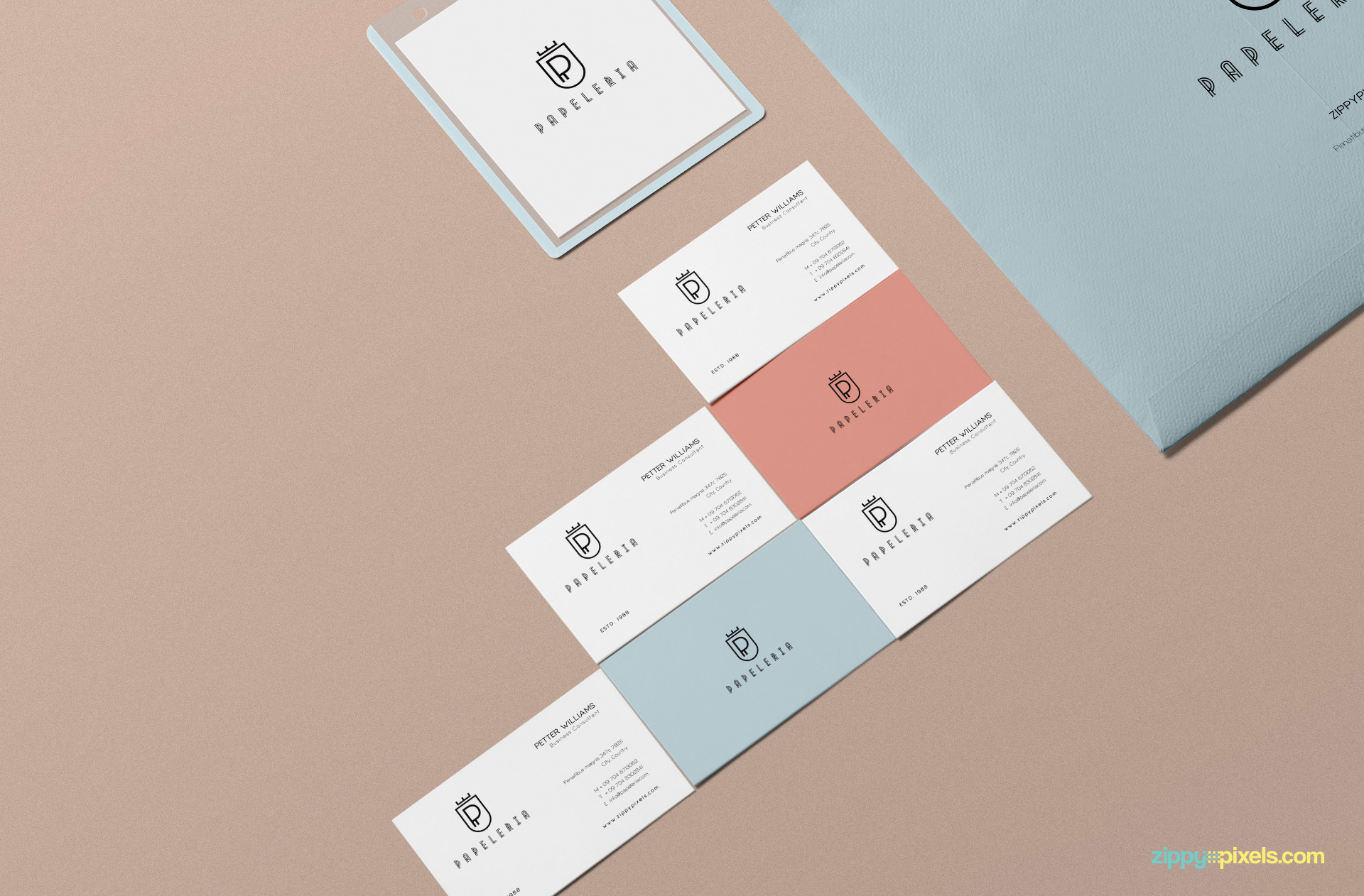 6 beautiful business cards mockup.