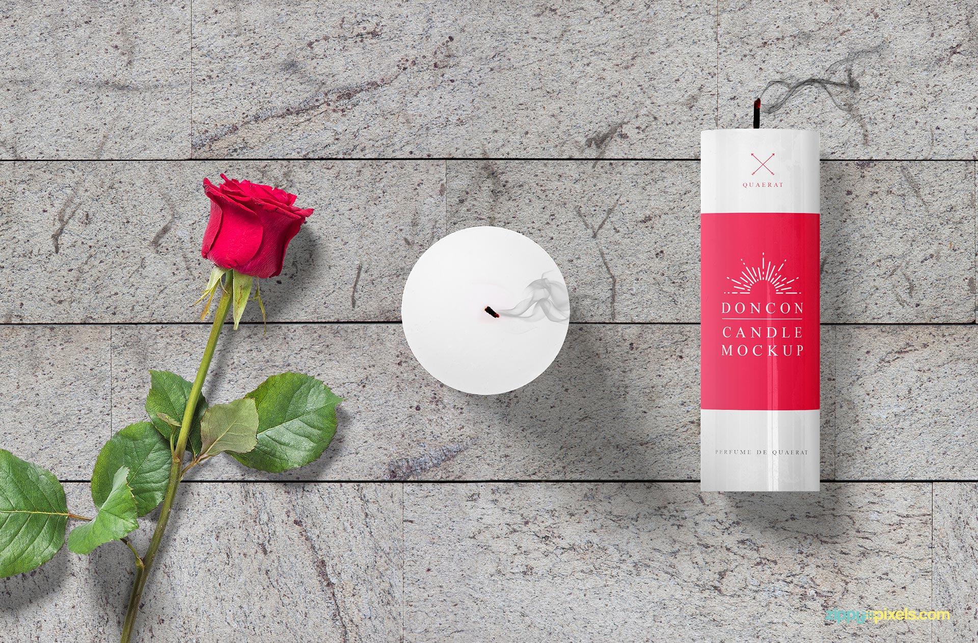 Gorgeous candle mockup free PSD scene.