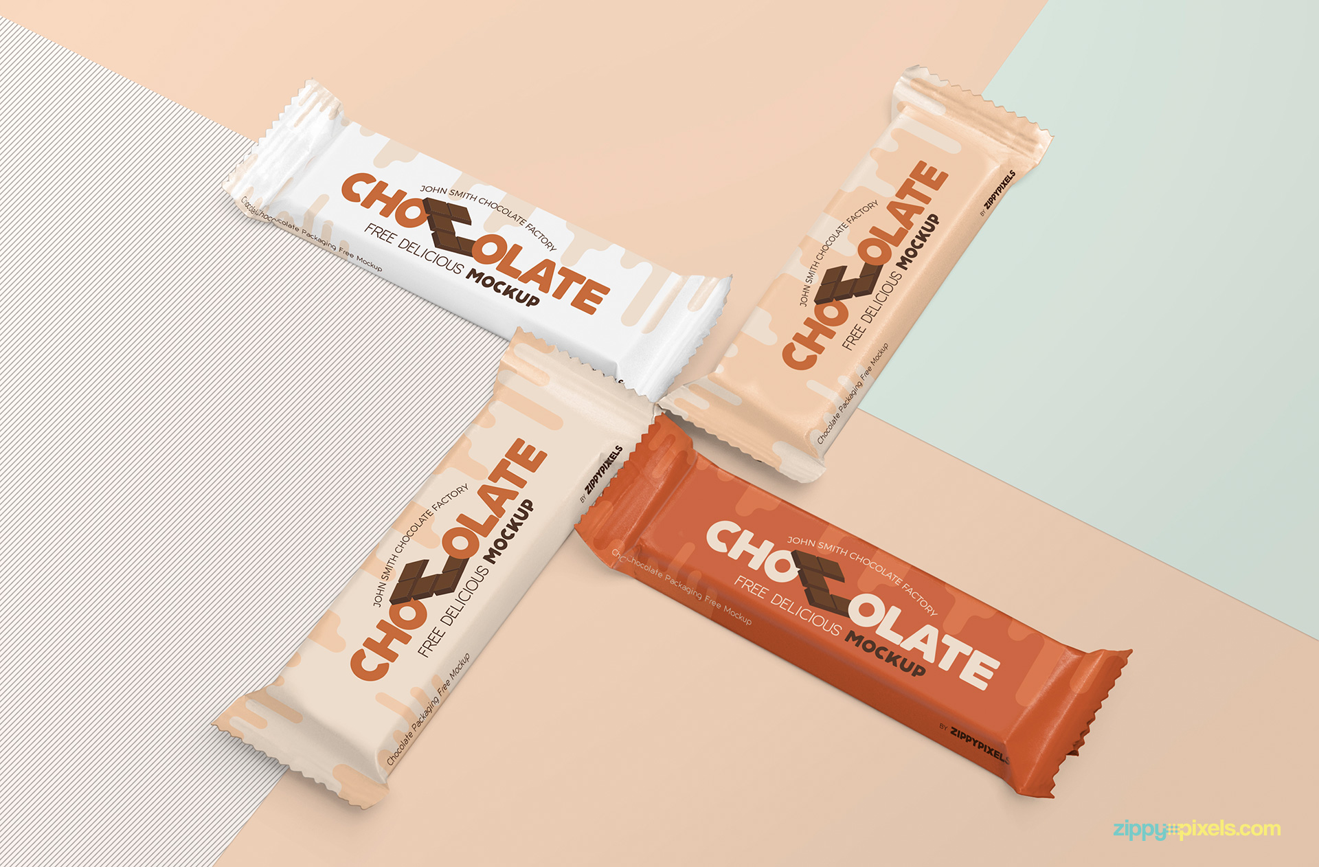 Free chocolate packaging mockup PSD.