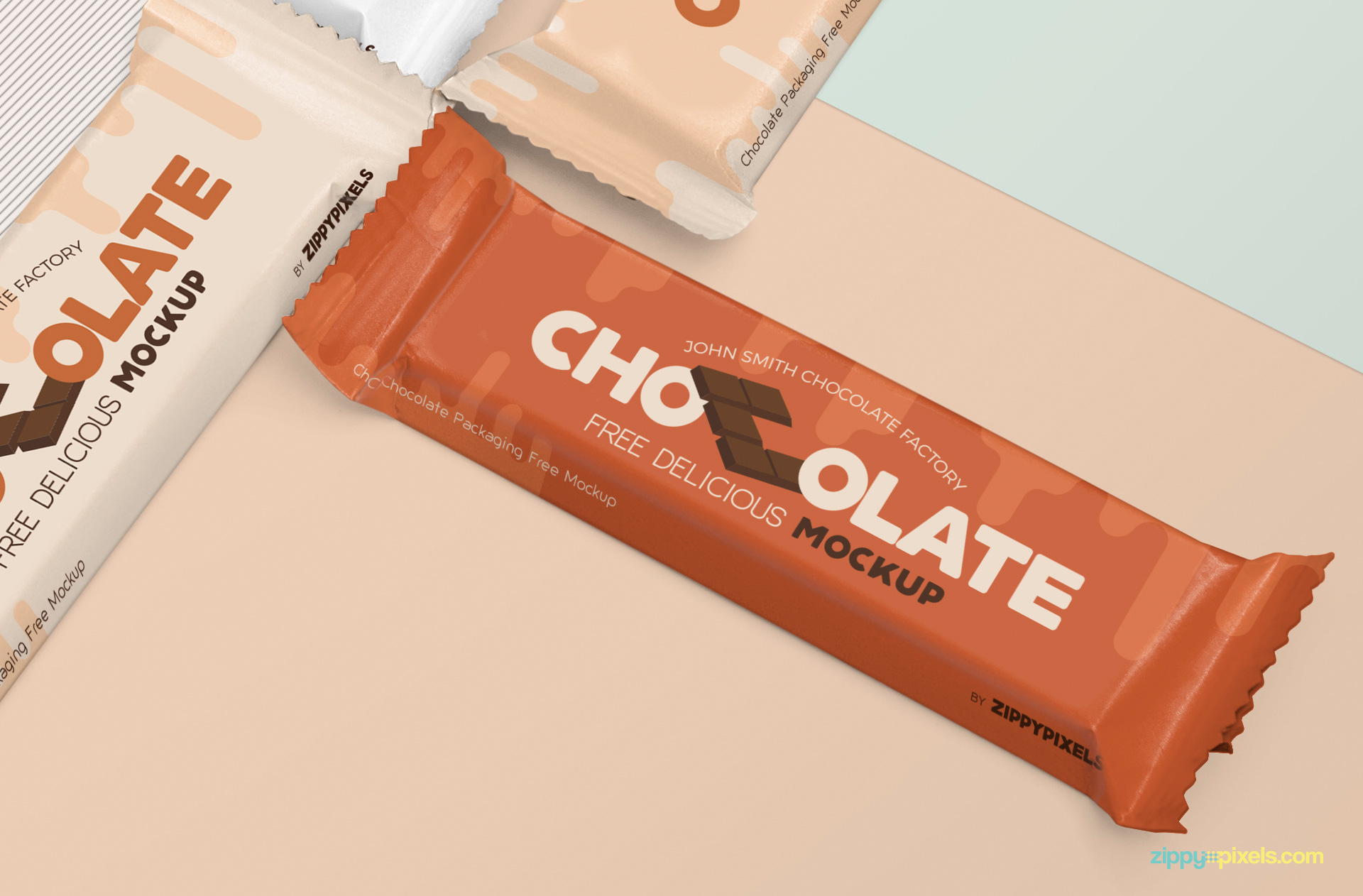 Free chocolate bar mockup.