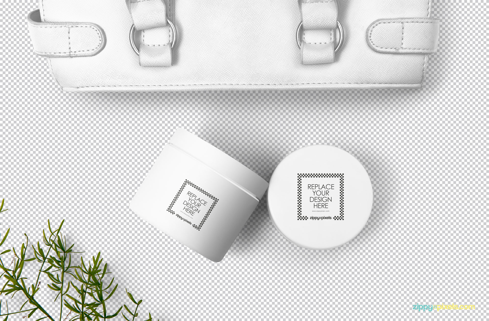 Editable cosmetic jar mockup with easily replaceable design option.