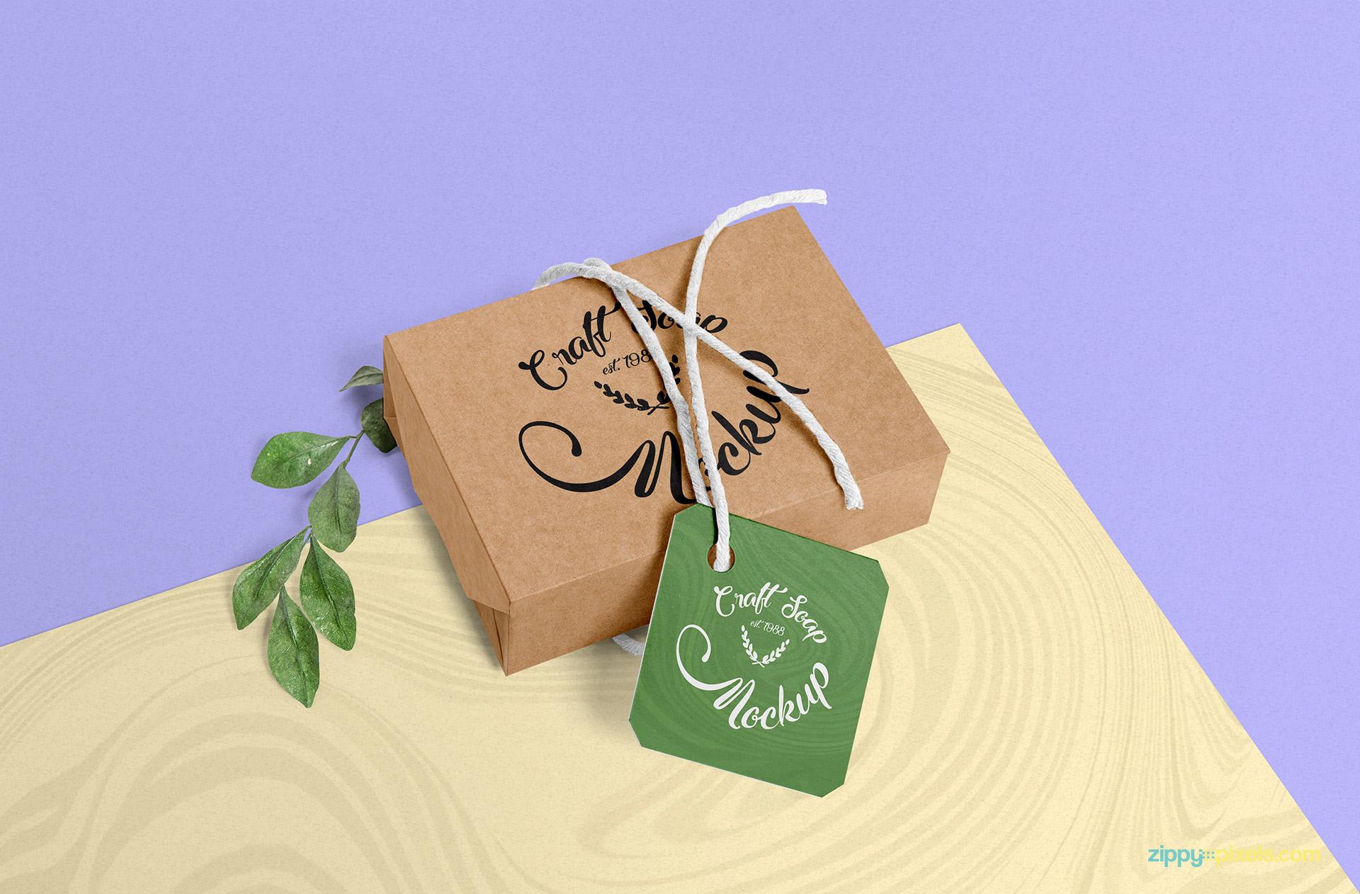 Free craft soap box mockup.