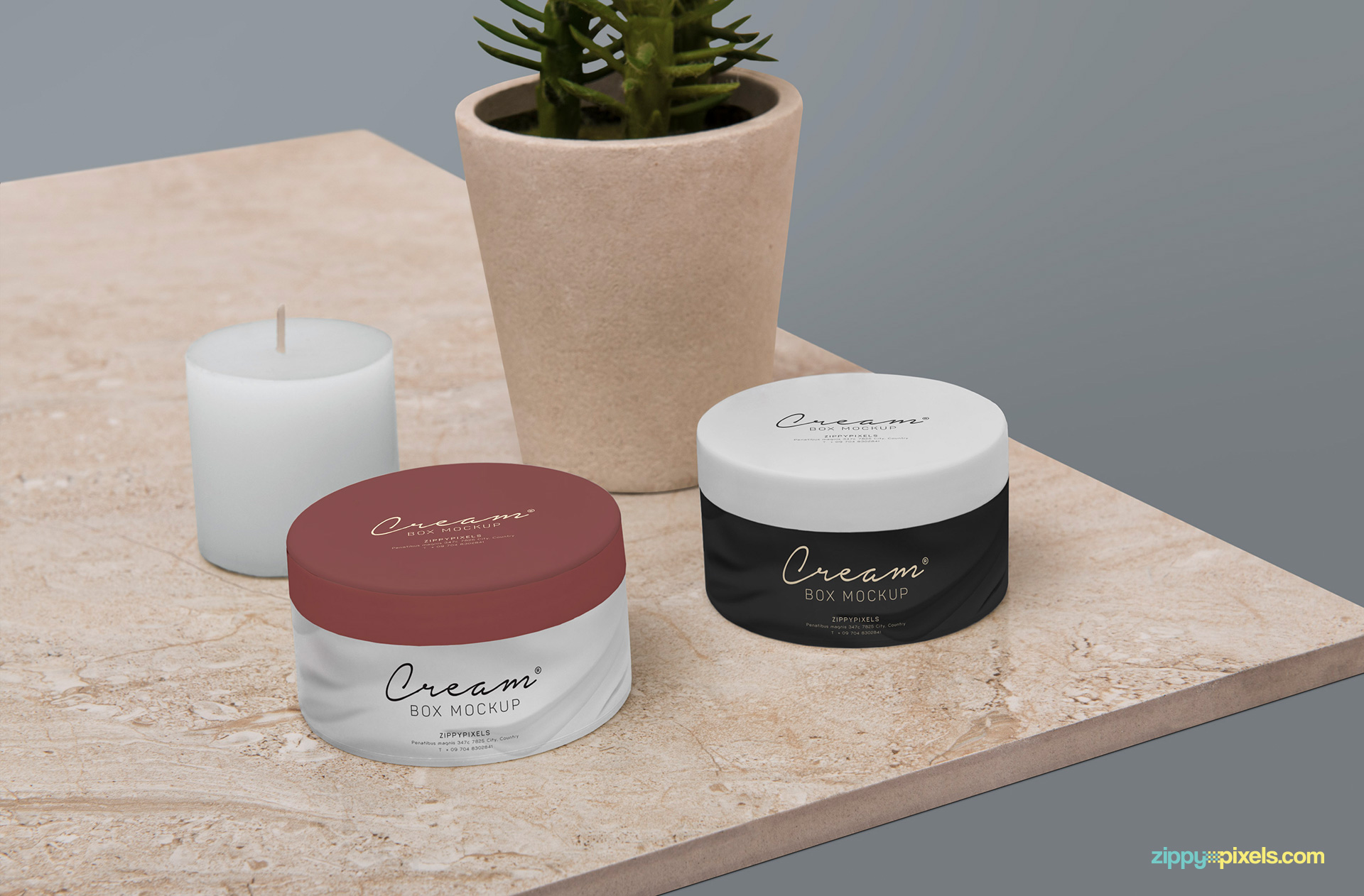 Gorgeous cream box mockup.