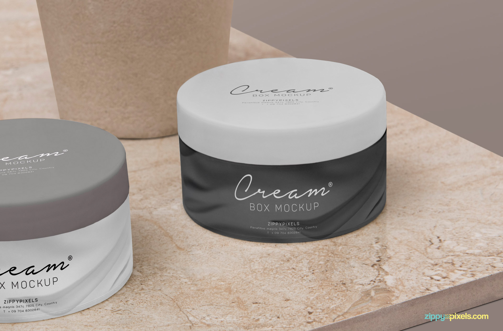 Cream jar mockup placed on marble shelf.