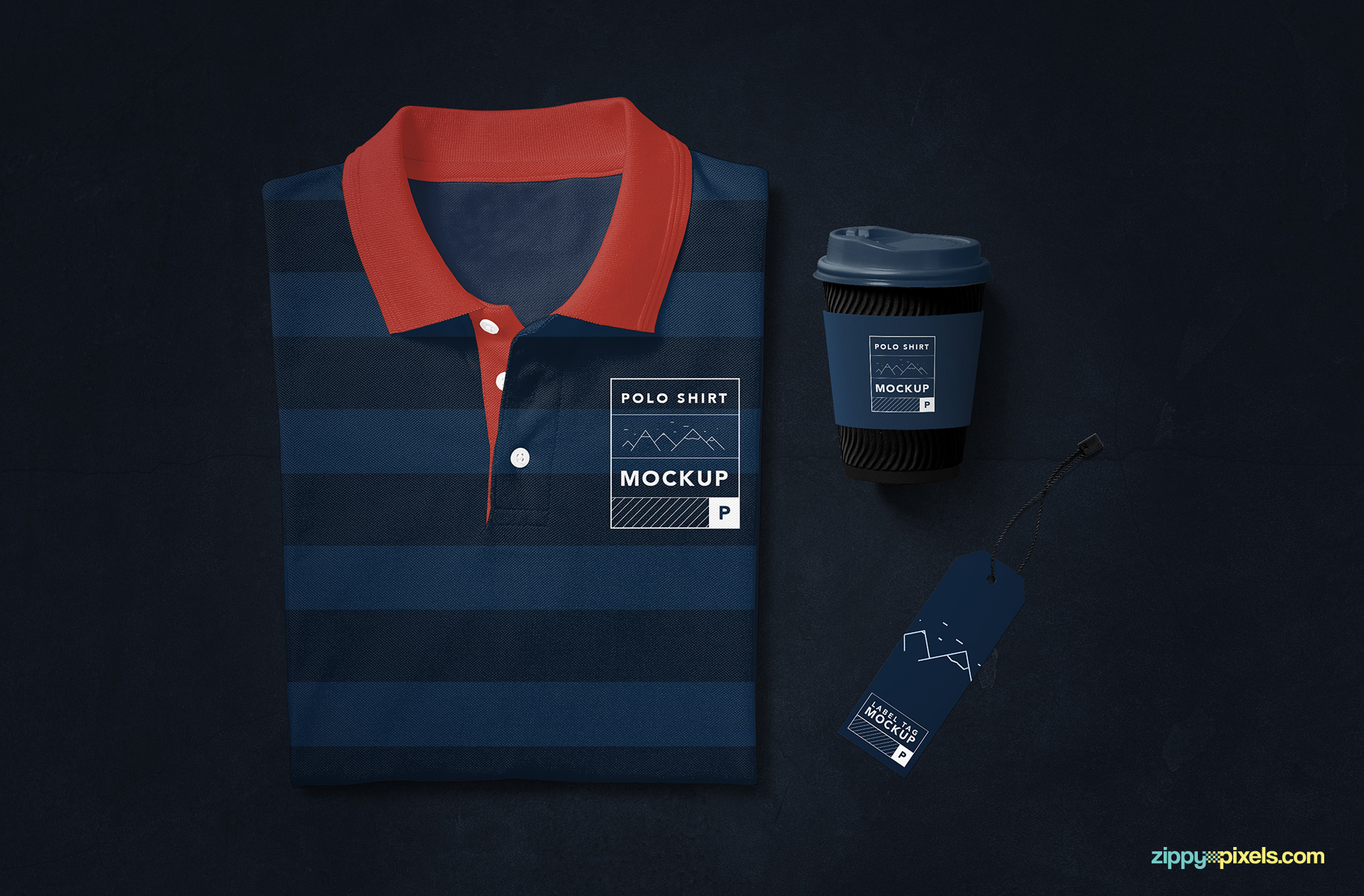 Polo shirt mockup with customizable coffee cup and label tag.