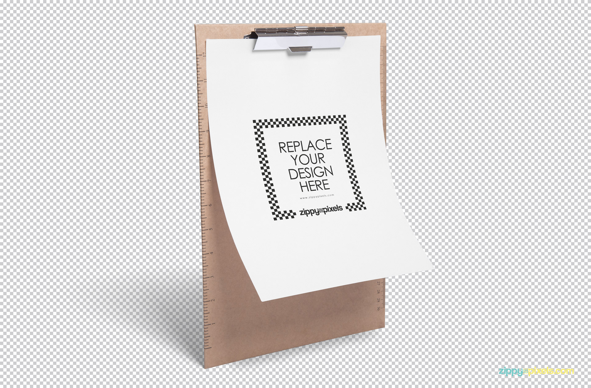 Fully customizable paper mockup with a clipboard.