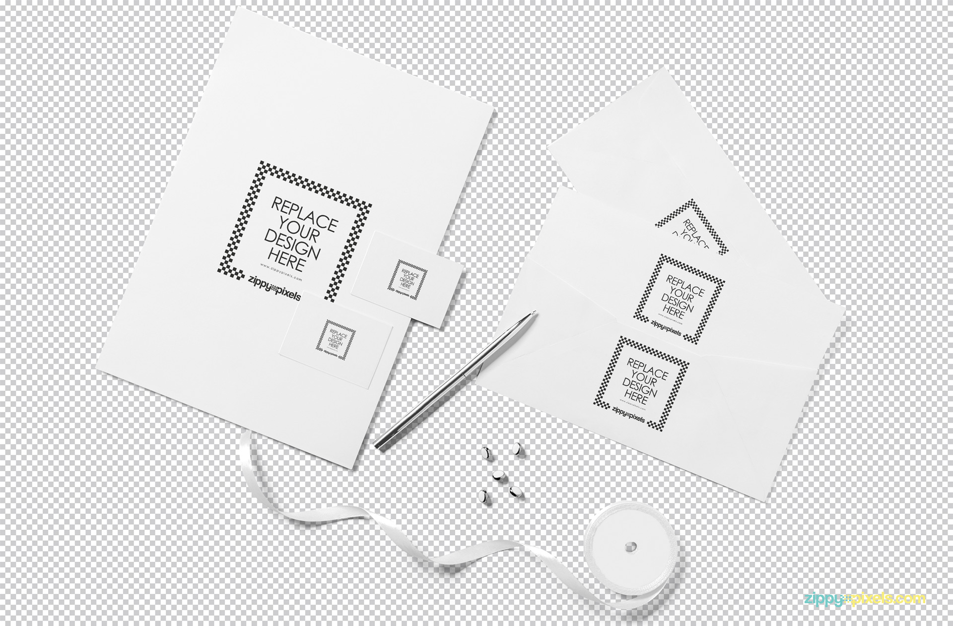 Photoshop to customize this free stationery mockup scene.