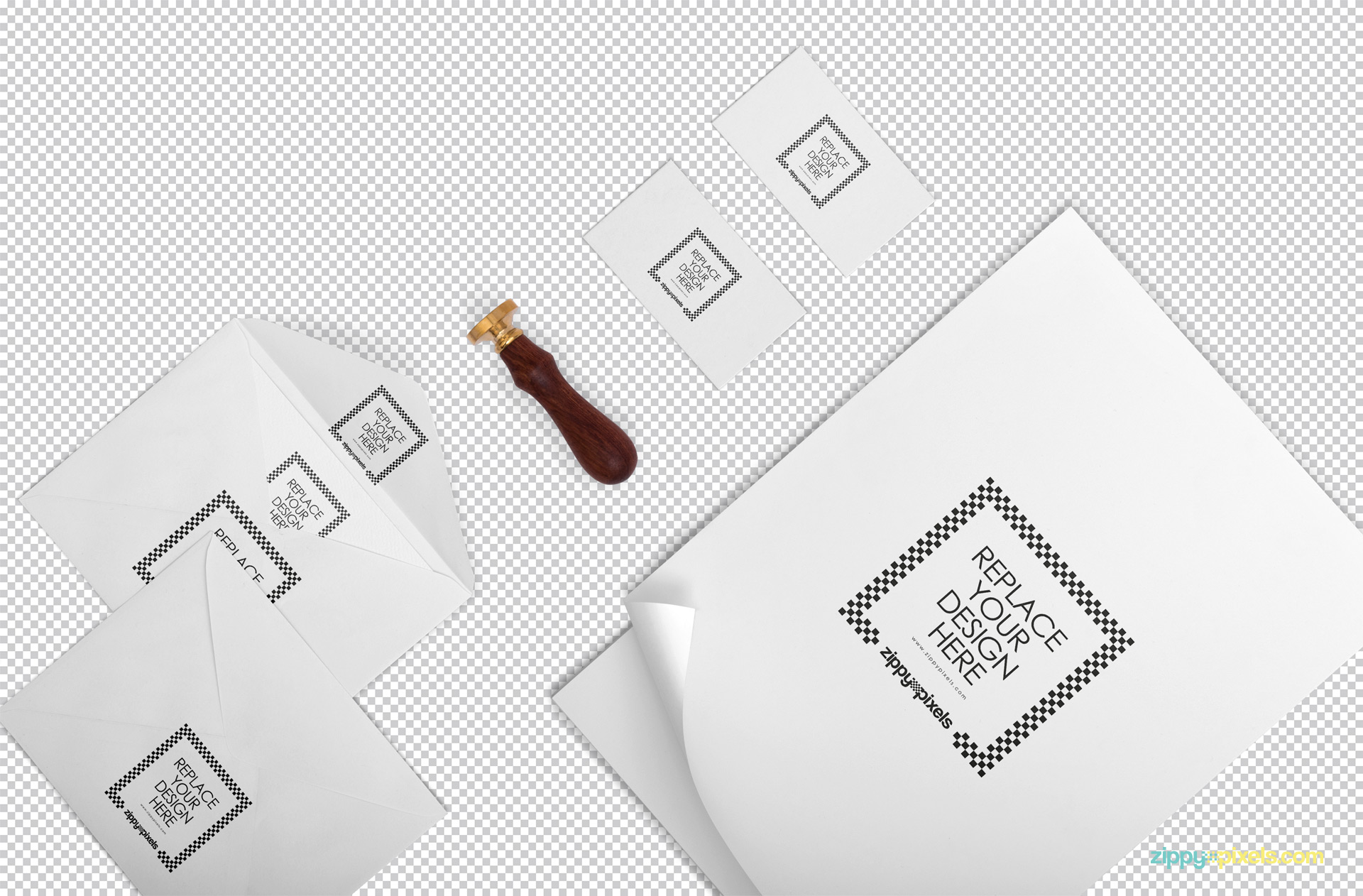 Use Photoshop to customize the plain white stationery scene with your designs.