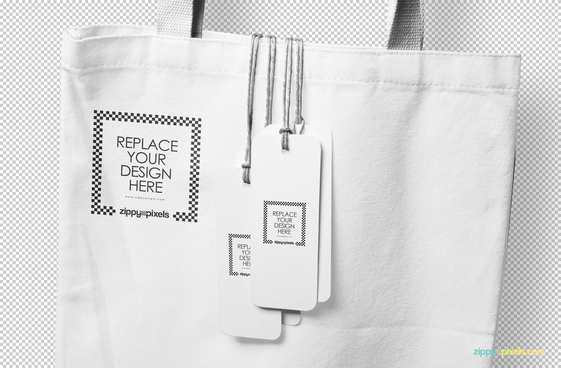 Use smart object to personalize tags and tote bag mockup with your designs.
