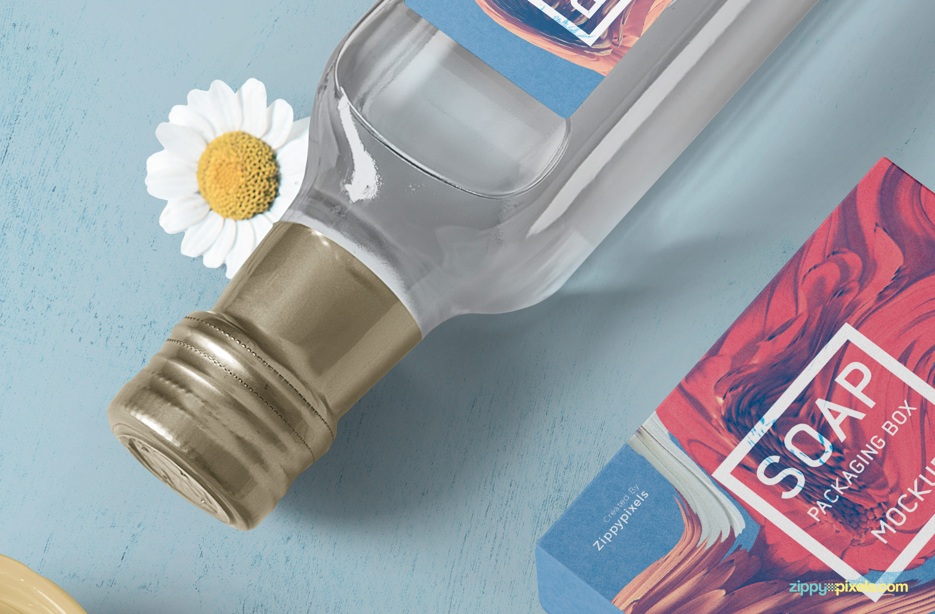 You can change the color of cap and liquid of glass bottle mockup.