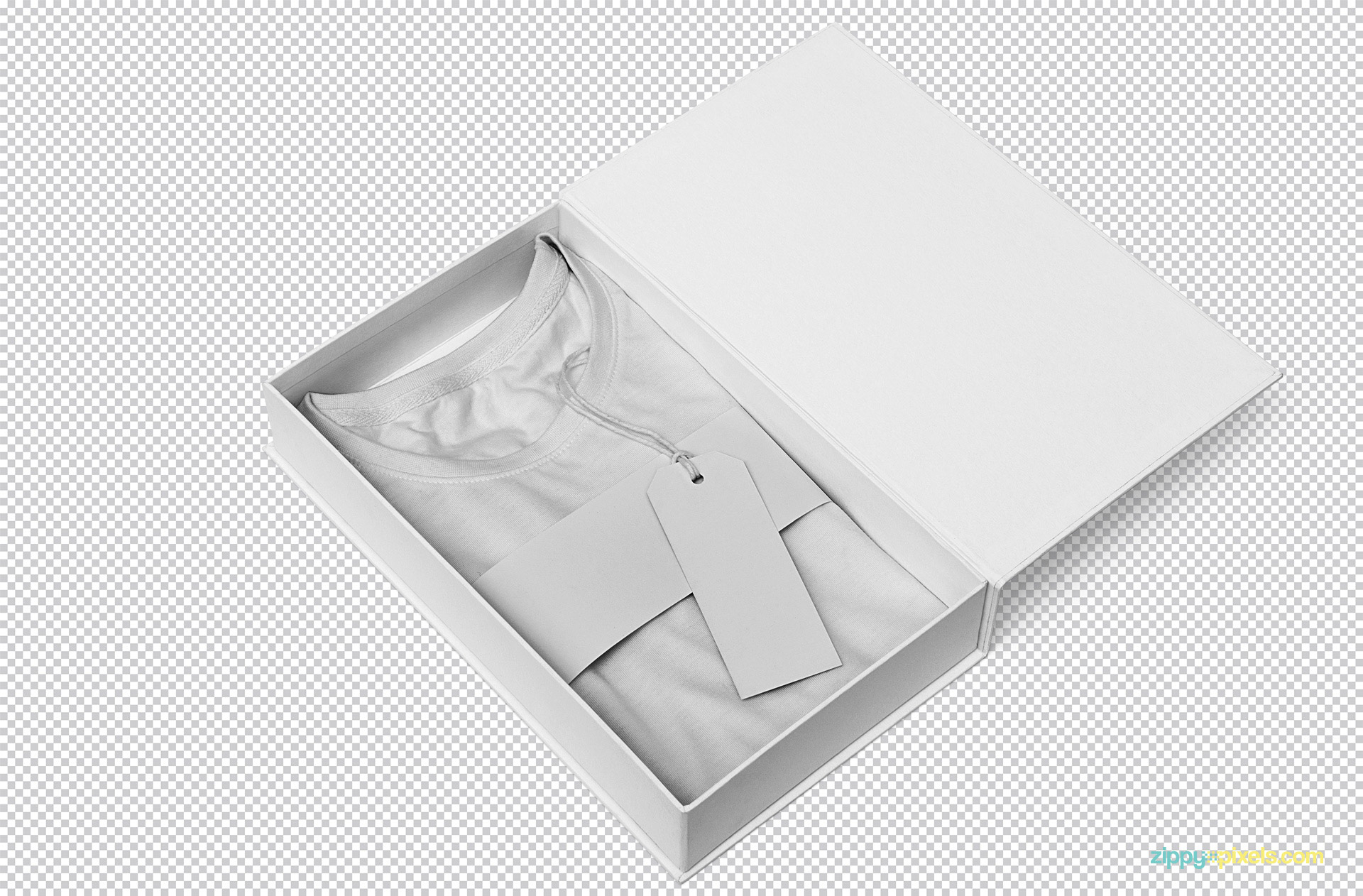 Apparel box mockup with t-shirt, label tag and sleeve.