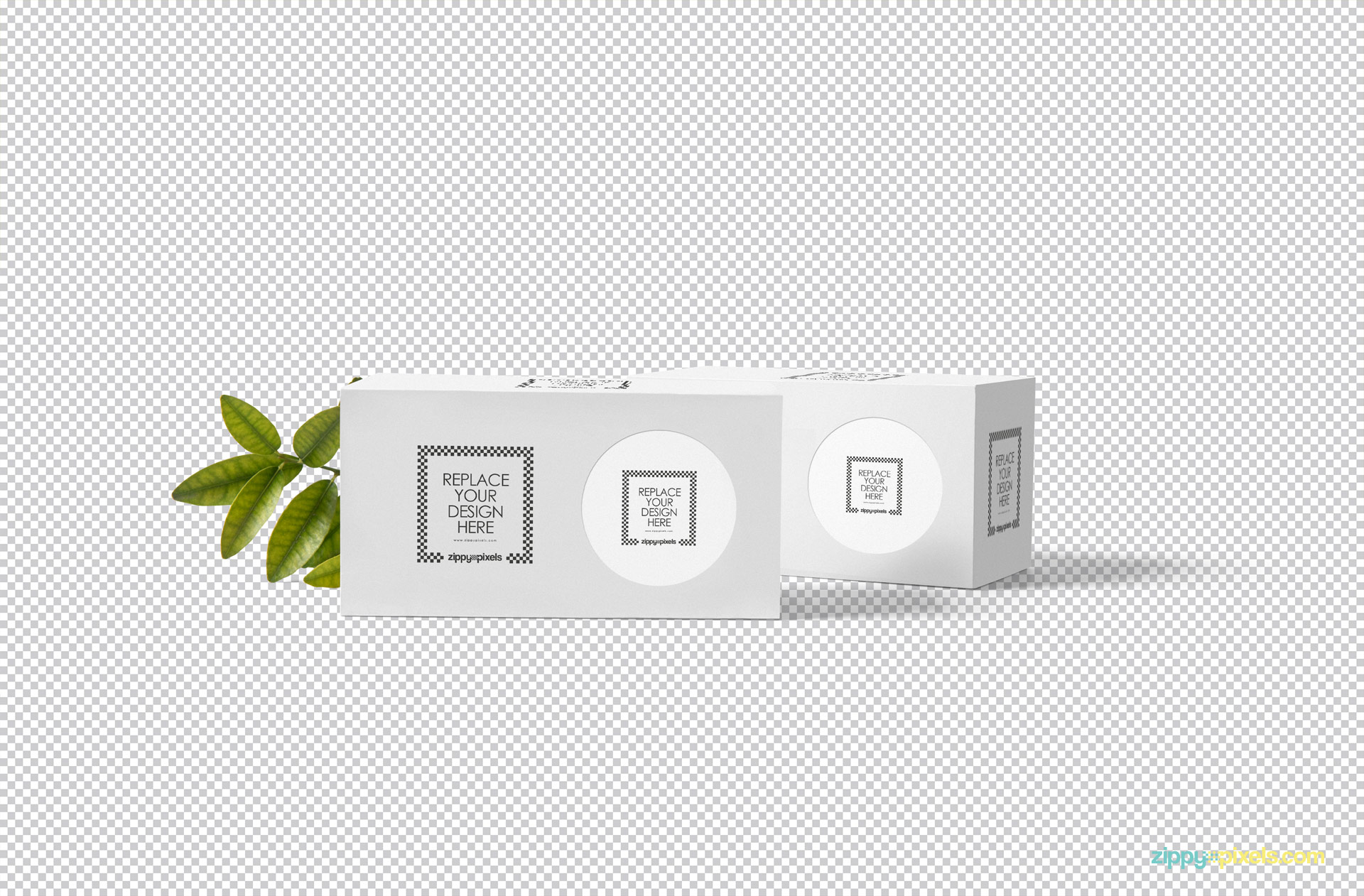 Plain white box packaging mockup on greyscale.