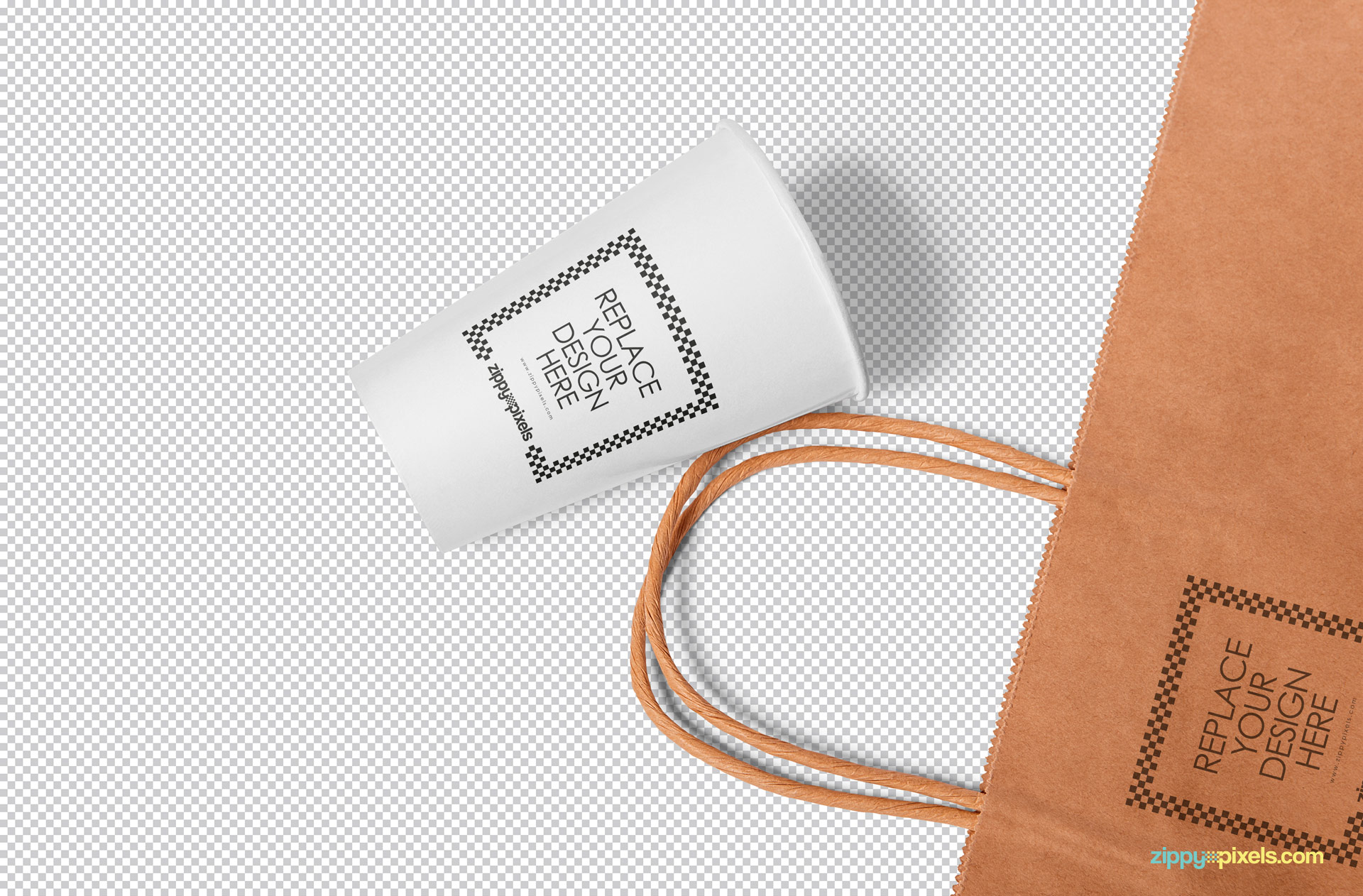 Smart object option to replace the design of this paper cup mockup PSD.