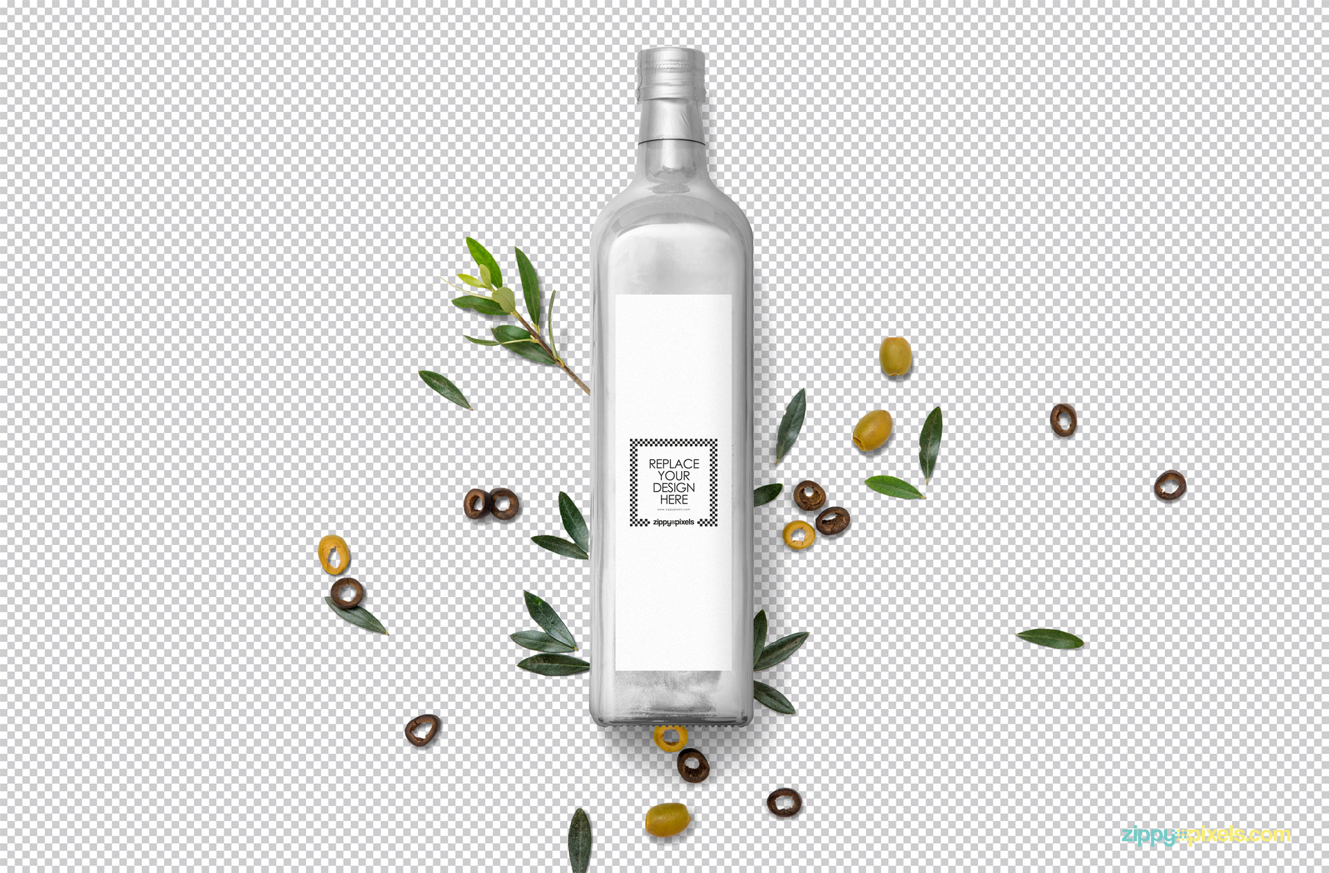 Use Photoshop to edit the PSD of glass bottle mockup.