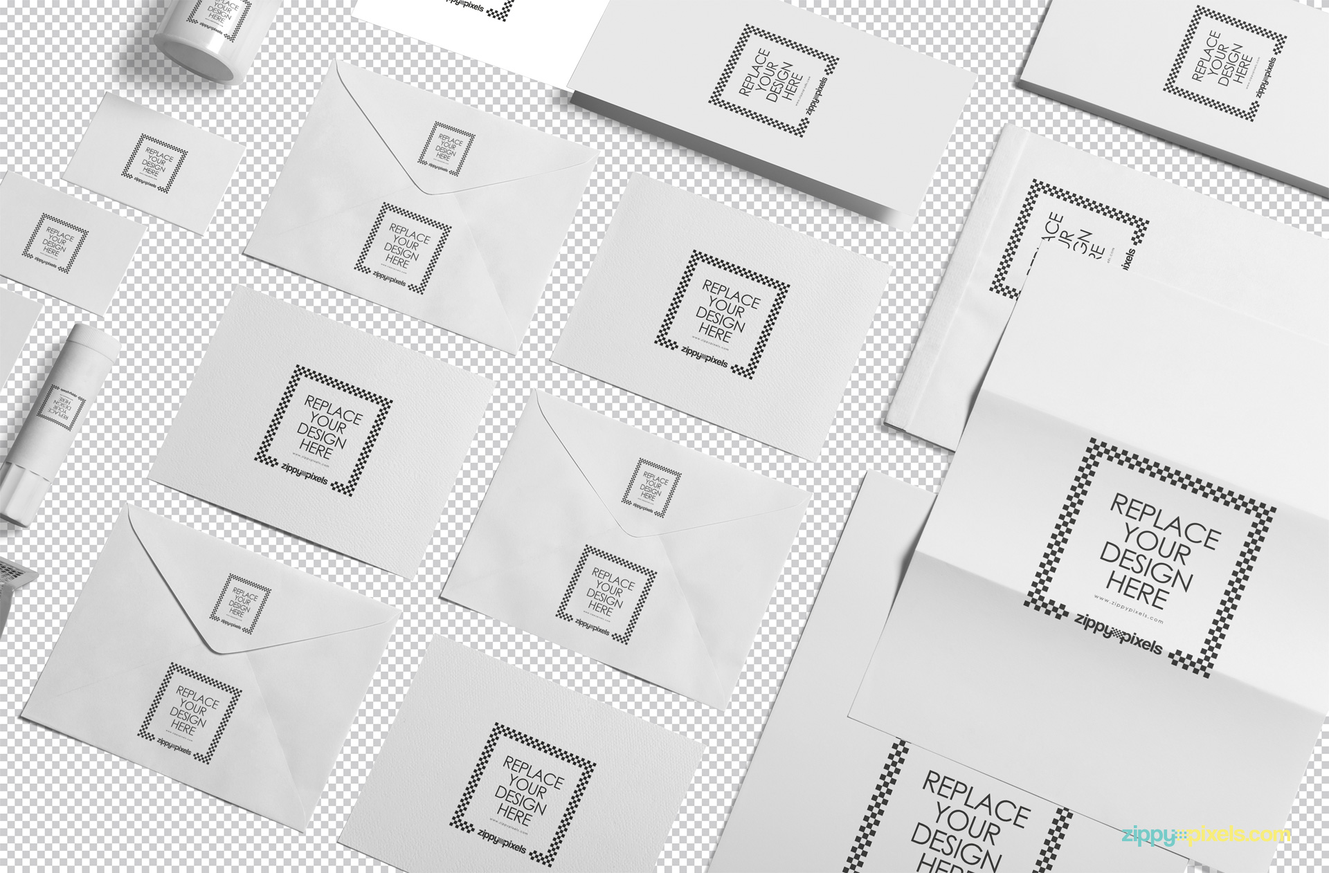 Plain white stationery items isolated with greyscale background.