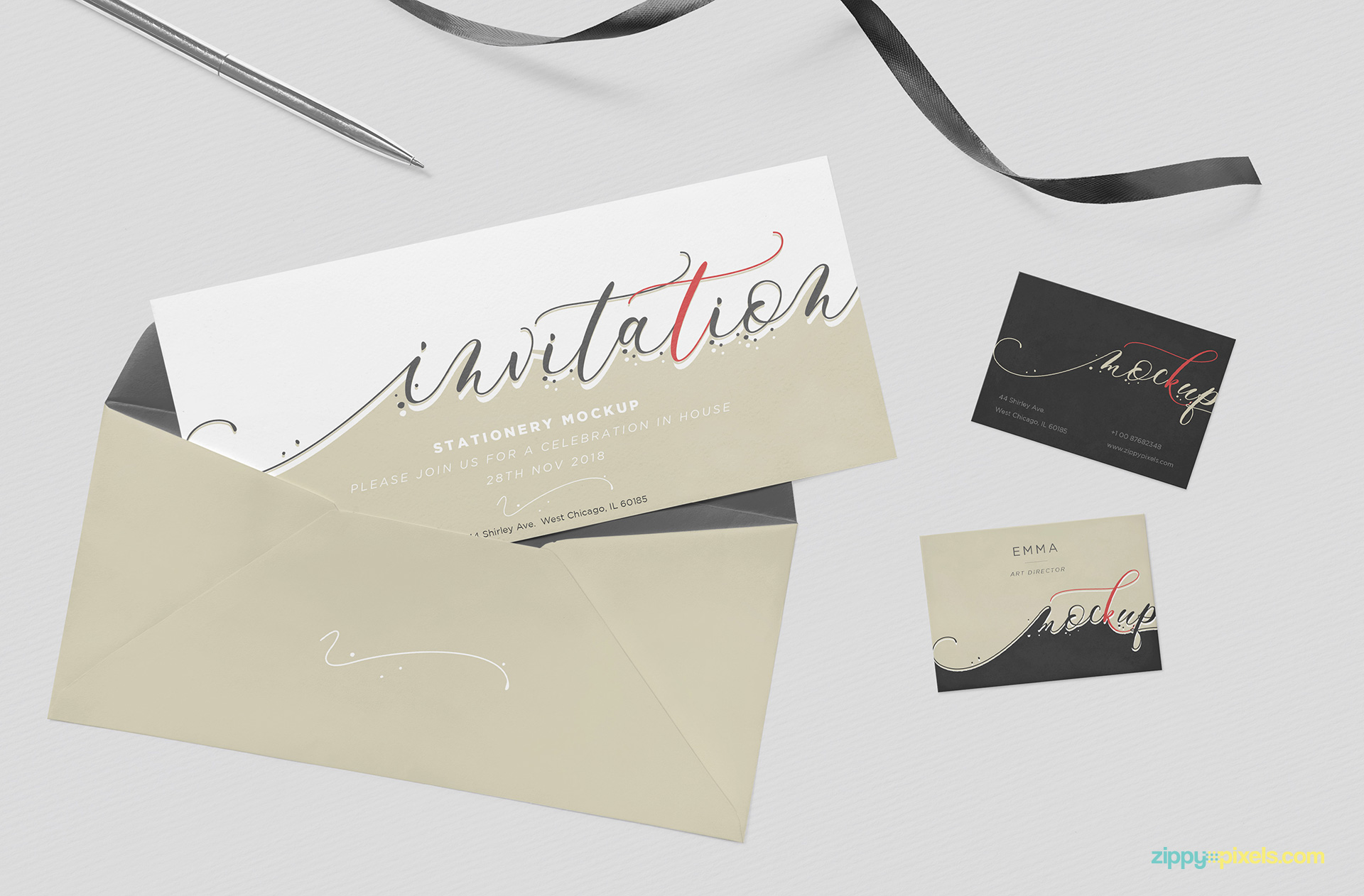 Free invitation mockup psd zippypixels adjust the light effects and color of the ribbon and pen as well stopboris Image collections
