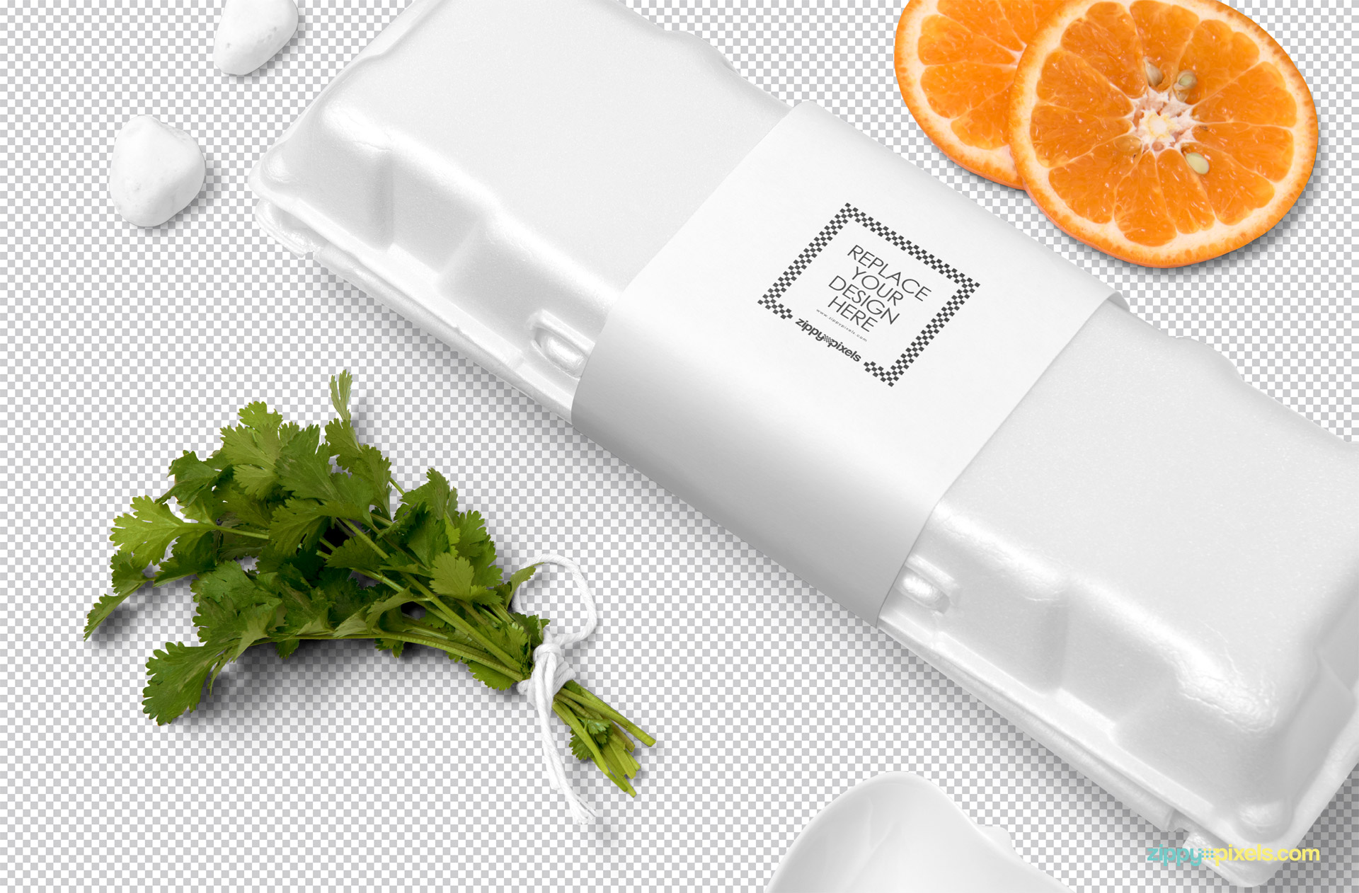Free egg packaging mockup with customizable packaging sleeve.