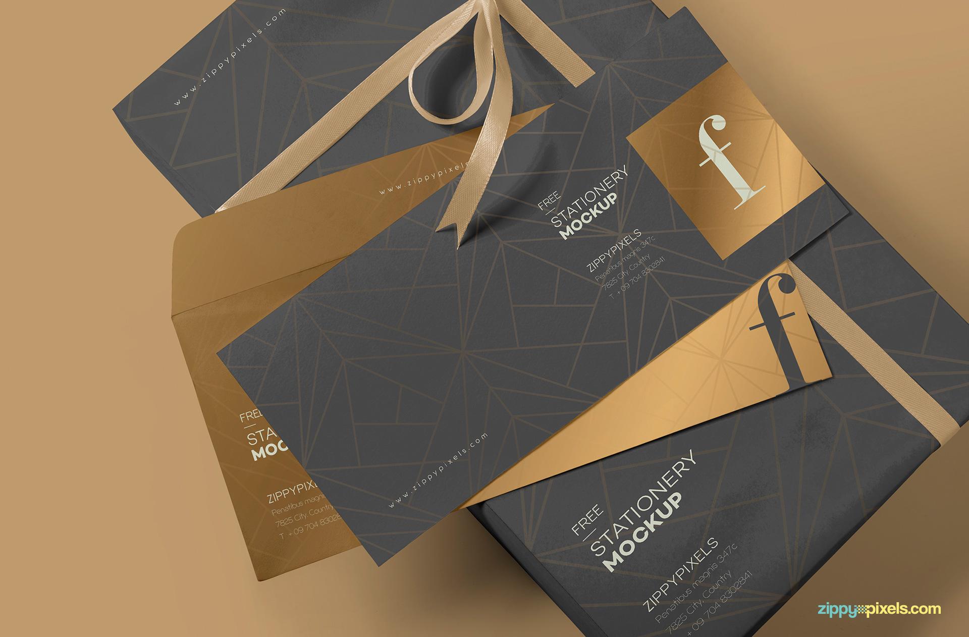 Free luxury envelope mock up.