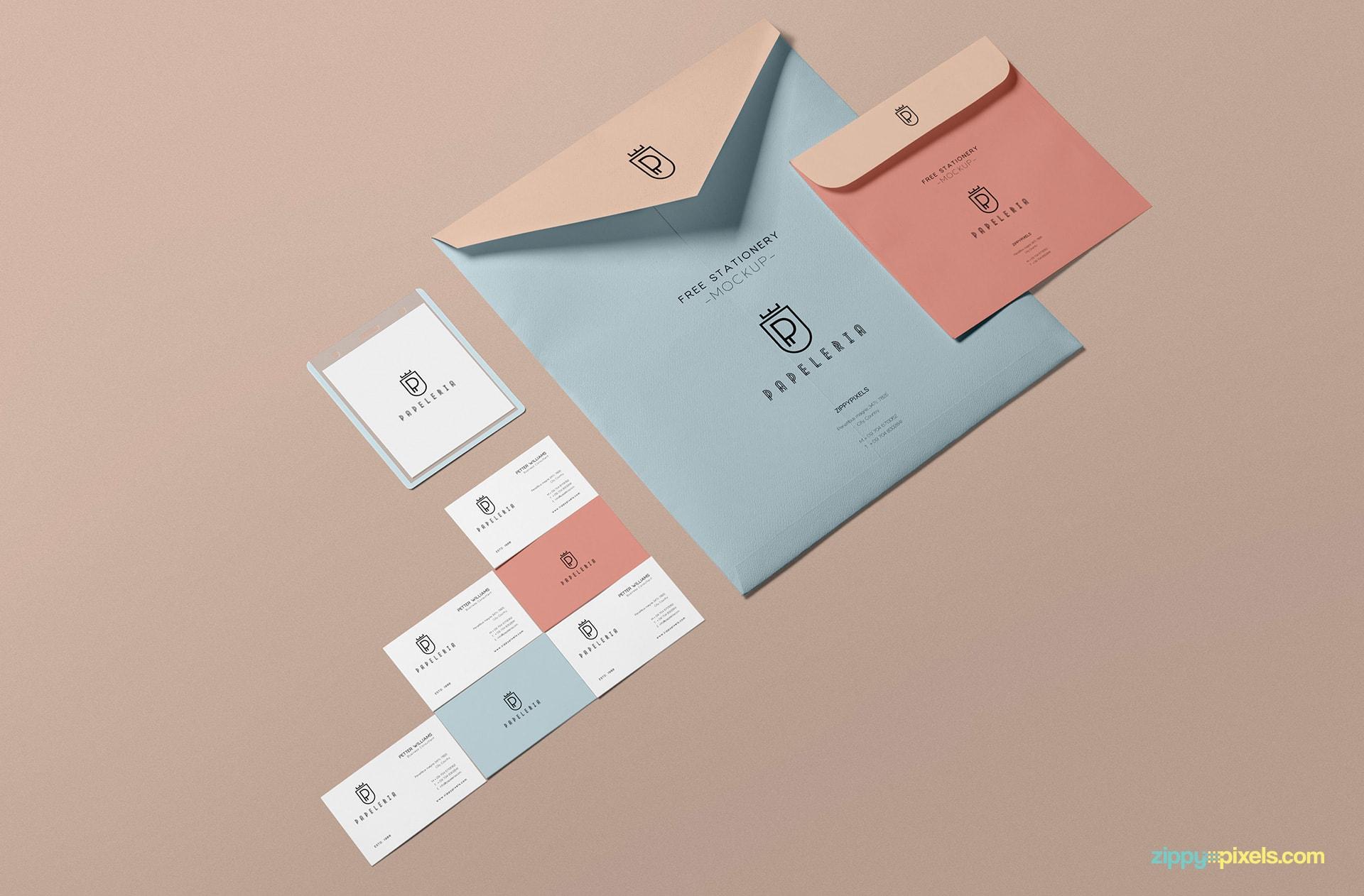 Beautiful envelope mockup free PSD.