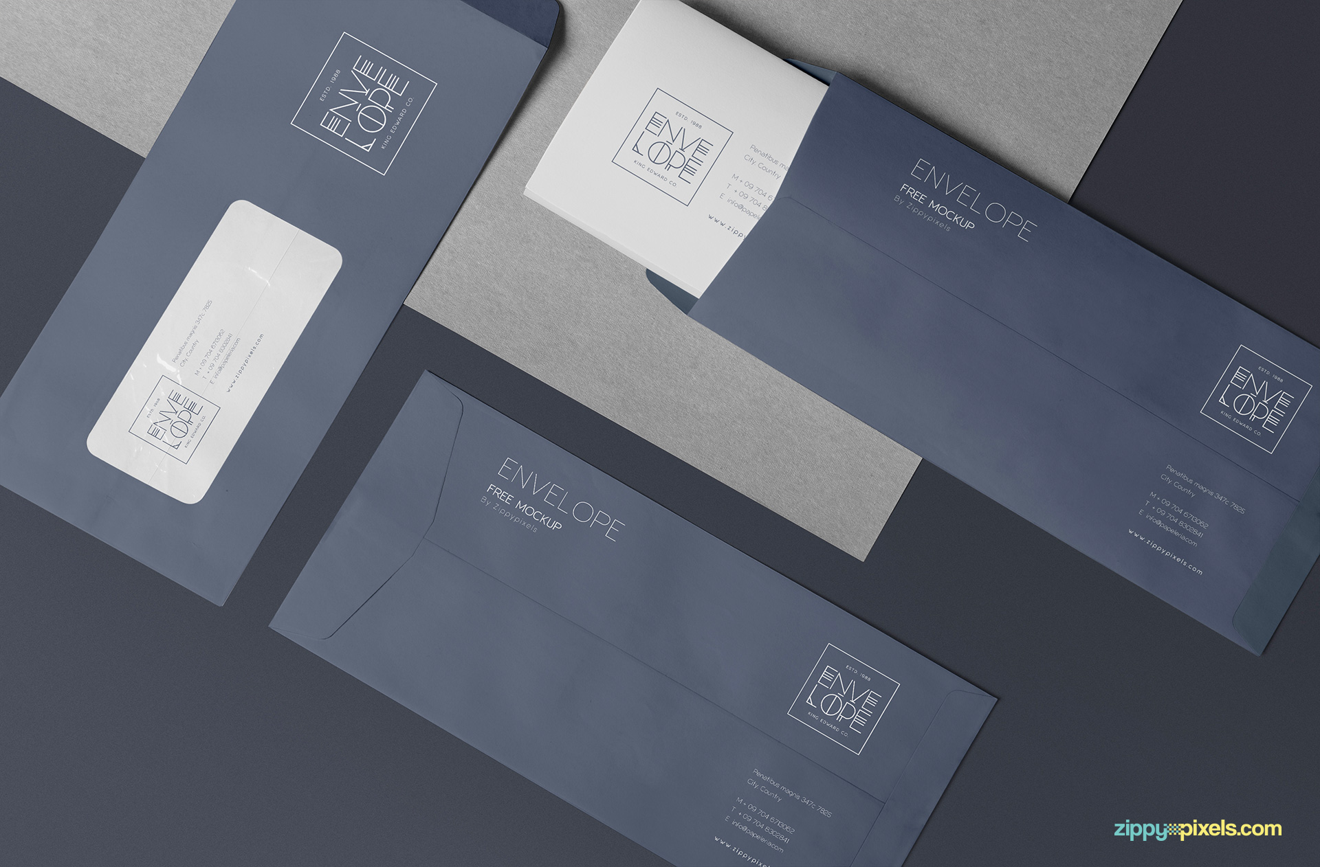 Brilliant envelope mockup PSD free.