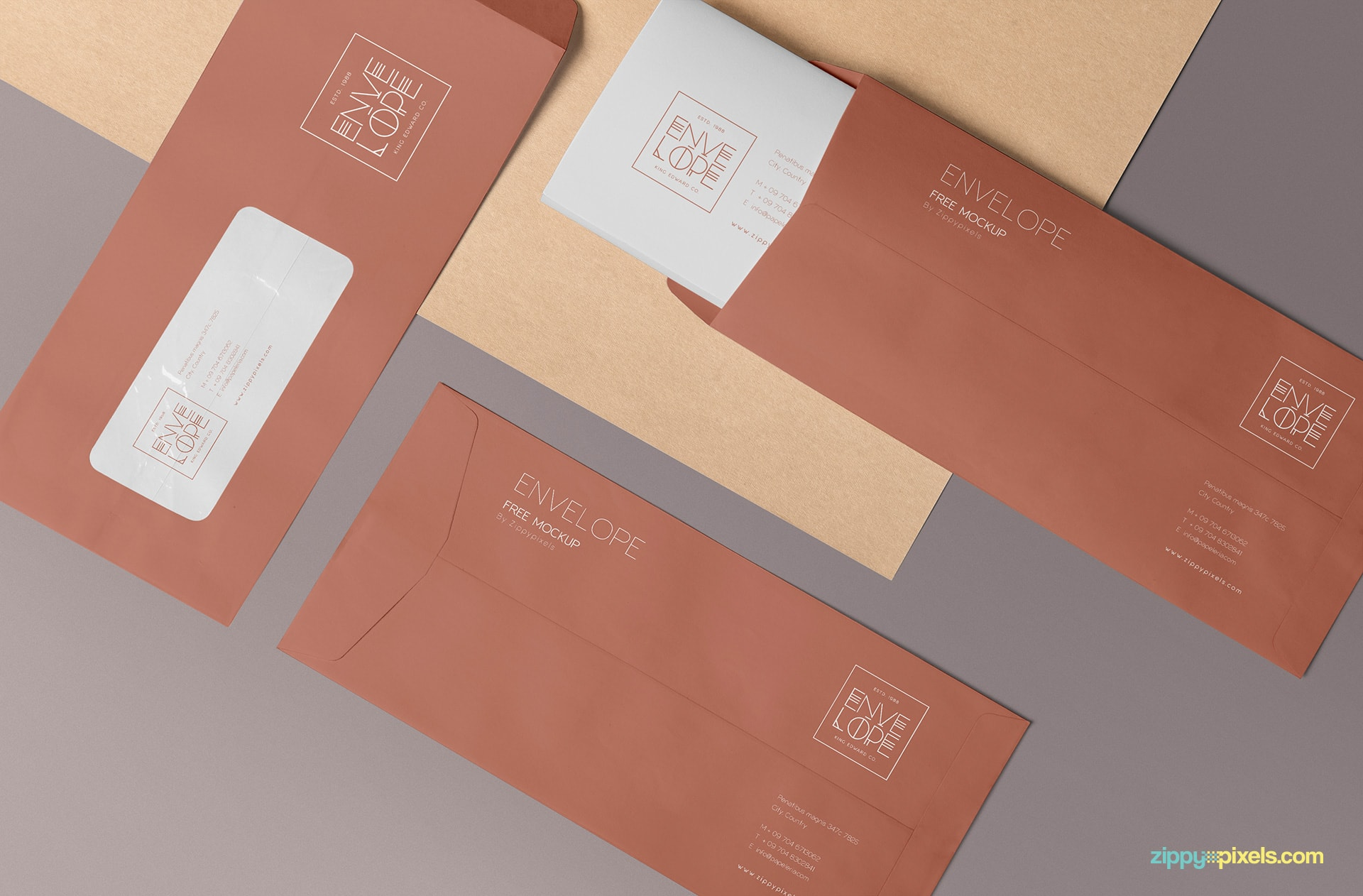 Fully customizable envelope mockup scene.