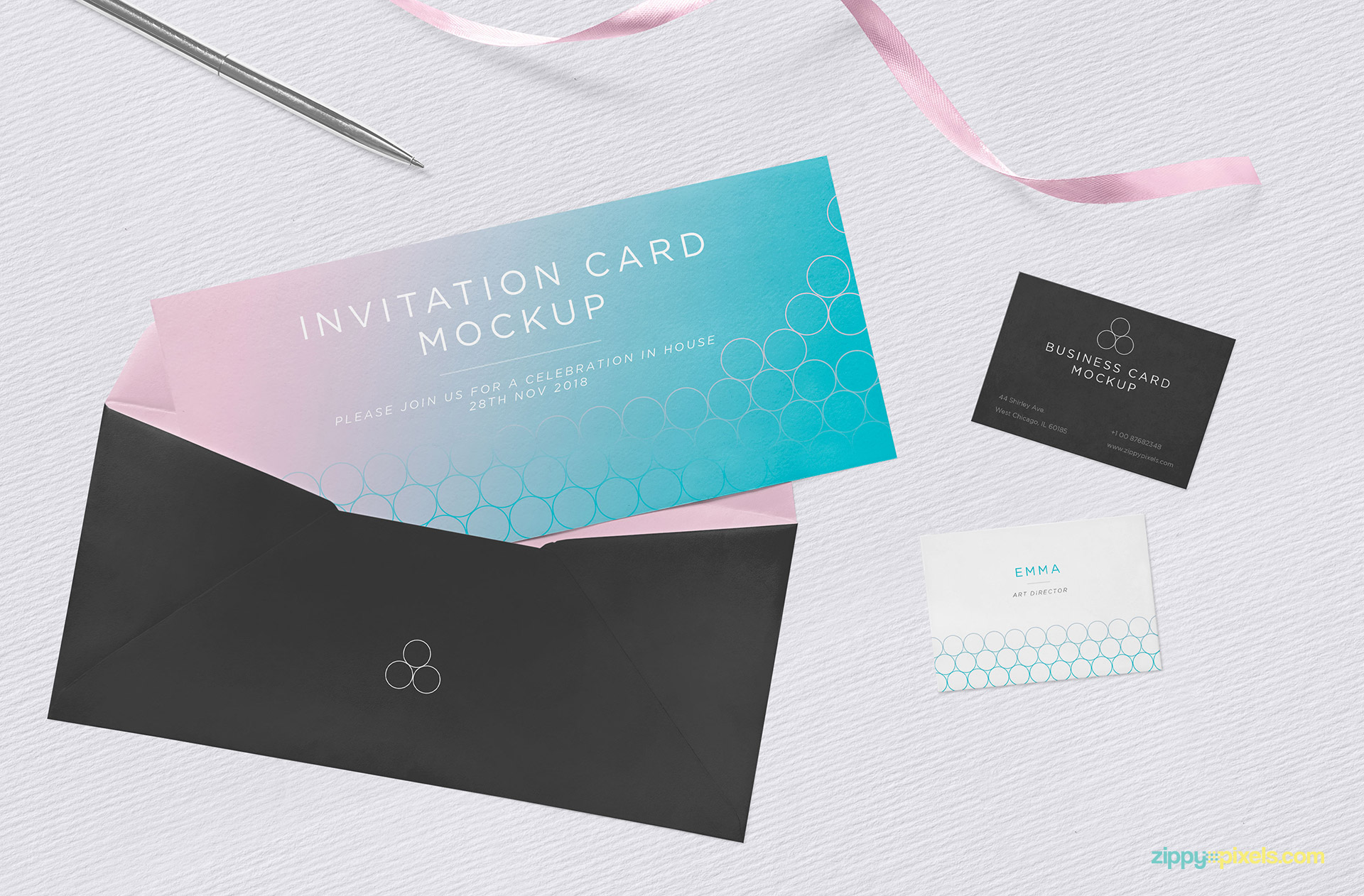 Free invitation mockup PSD.