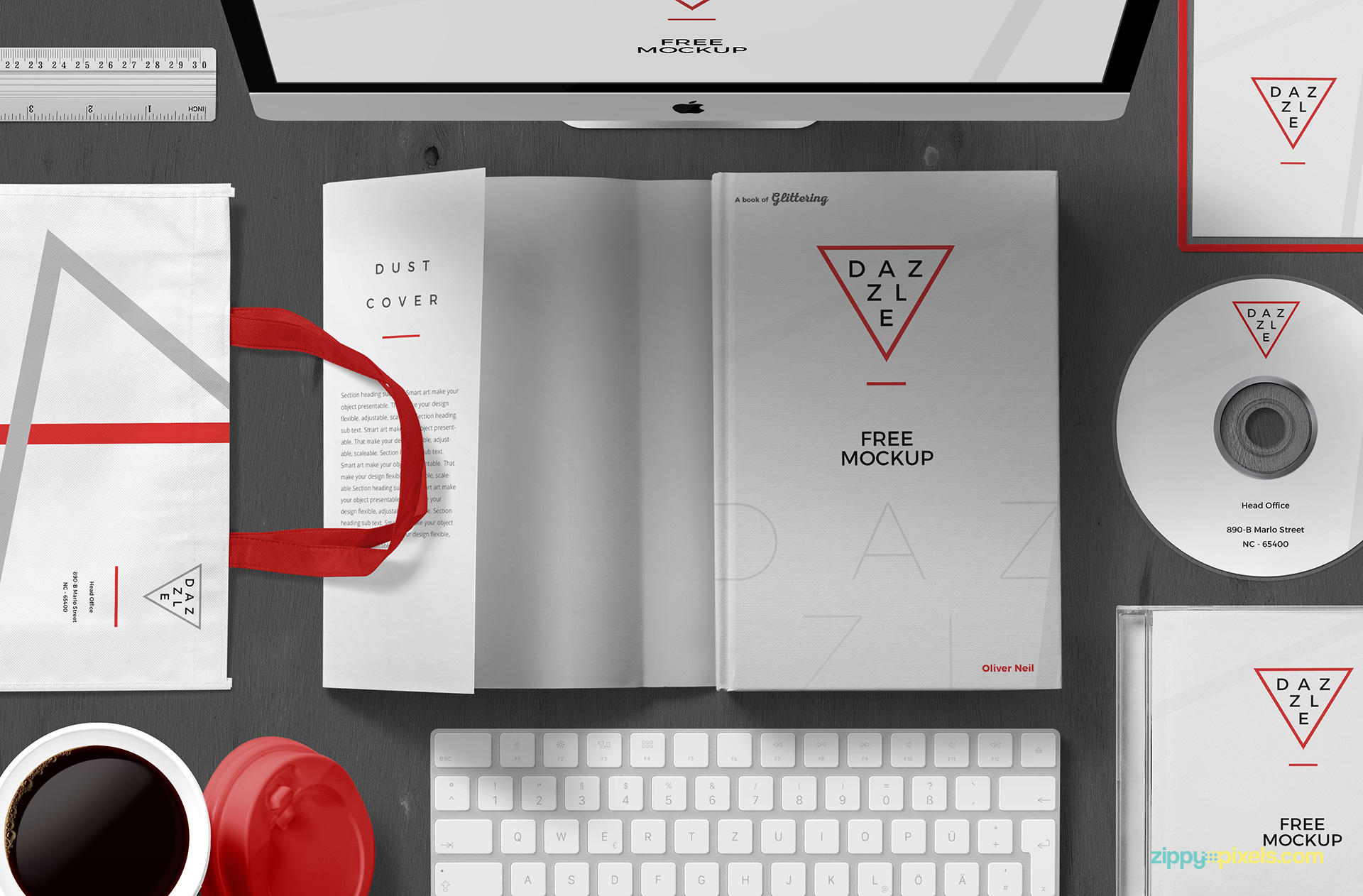 Fully customizable free book cover mockup scene.