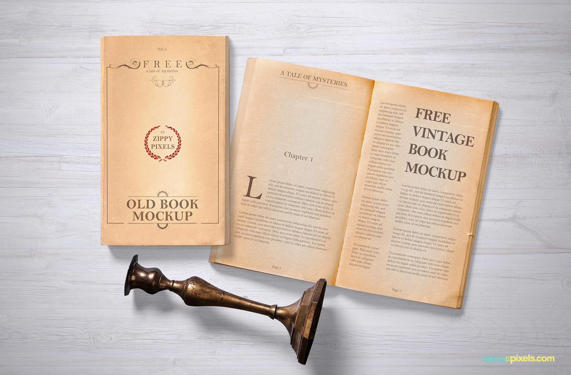 Free old grunge book mockup on wooden background.
