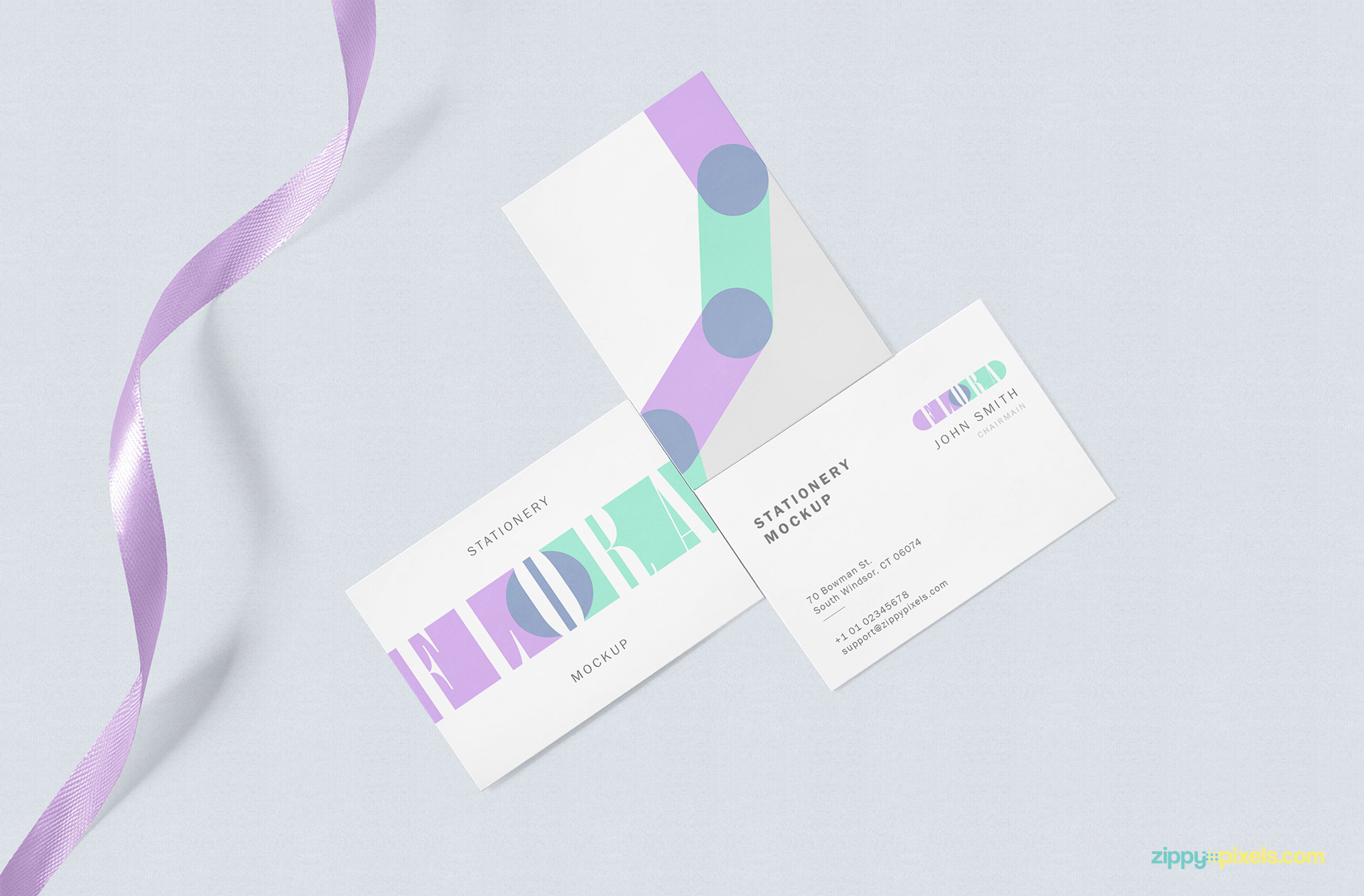 Free business card mock up scene.