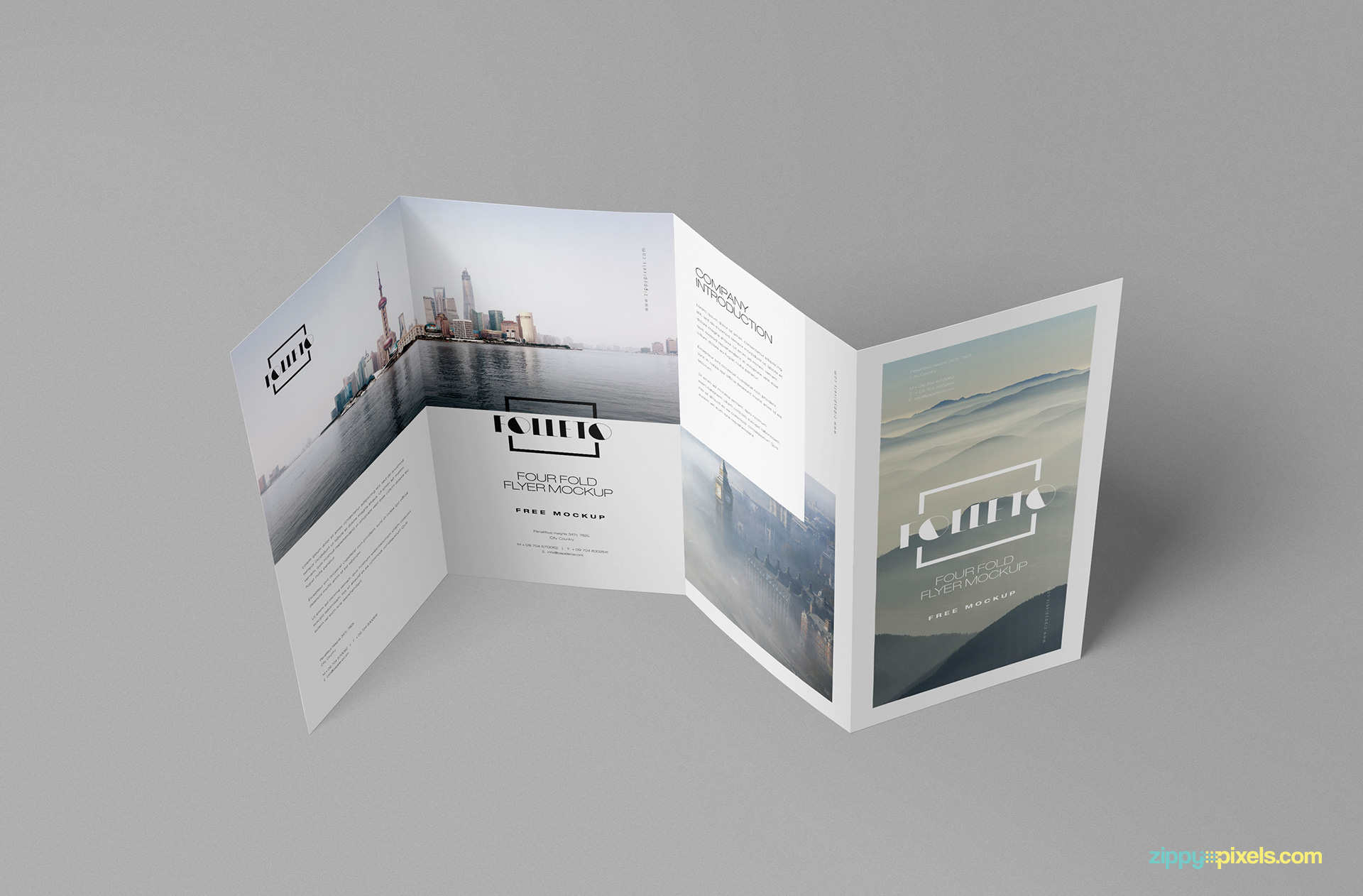 free photo realistic folded brochure mockup zippypixels