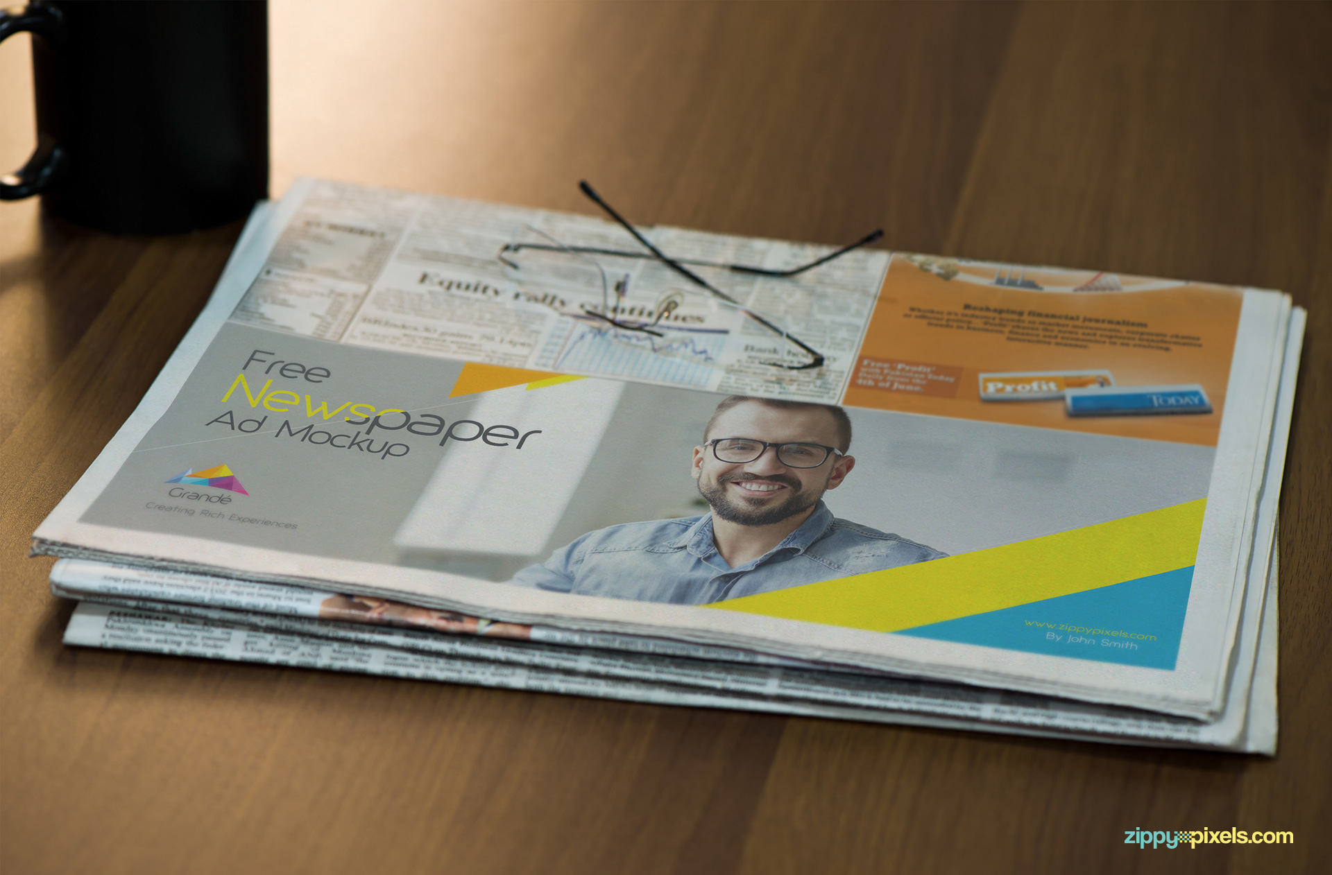 Free half-folded newspaper mockup.