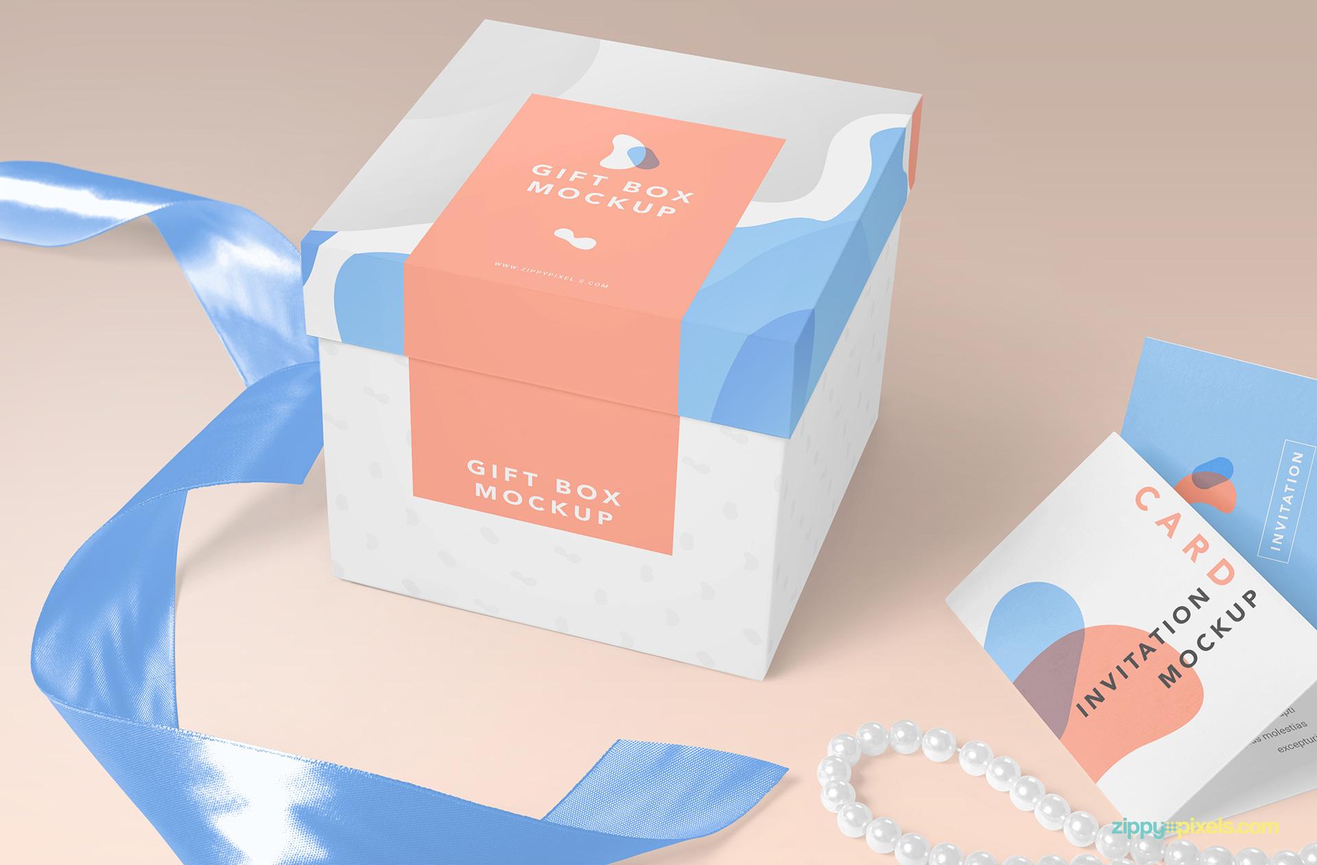 Easy to edit gift box mockup scene.