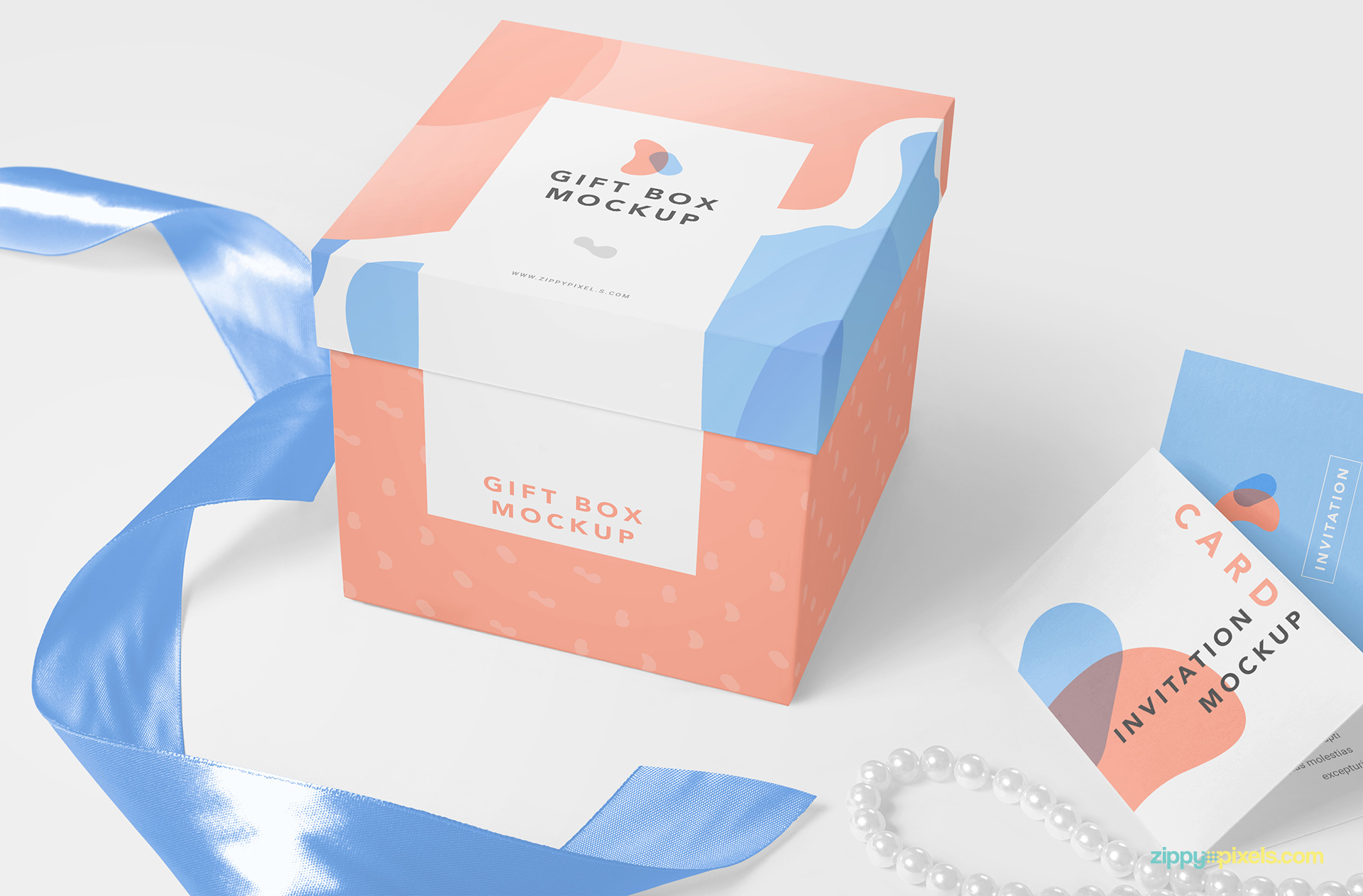 Fully layered gift mockup PSD.