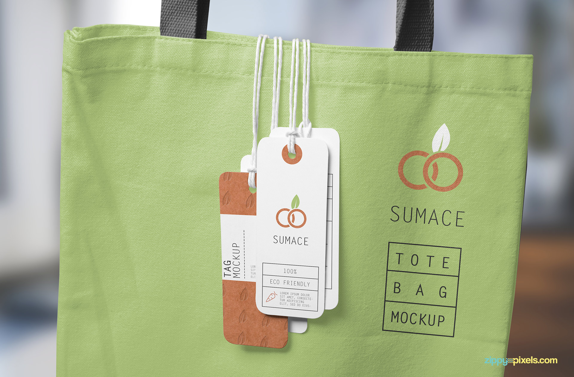Fully customizable free label tag mockup.