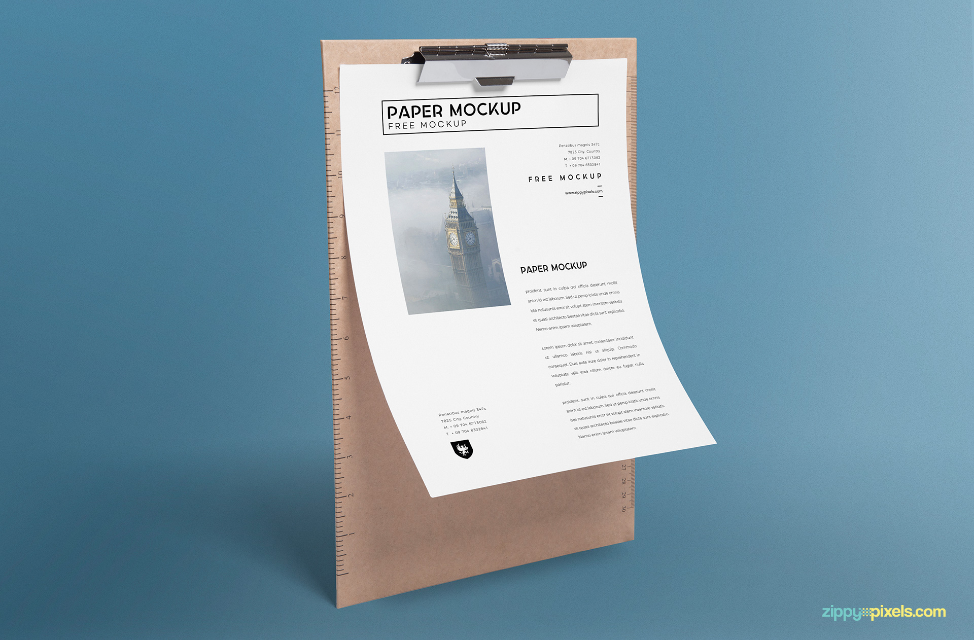 Free paper mockup in standing position.