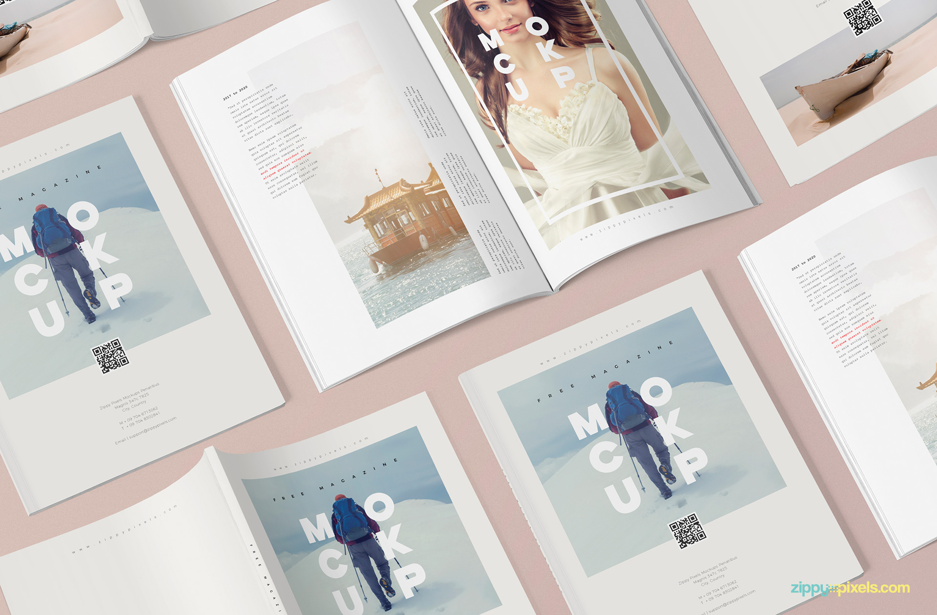 Customizable scene of three different magazine mockup templates.