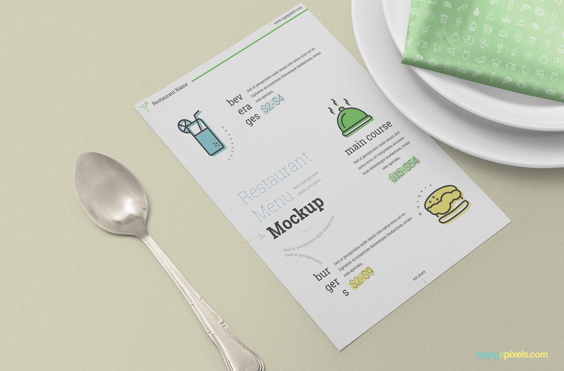 Fully customizable free menu card mockup.