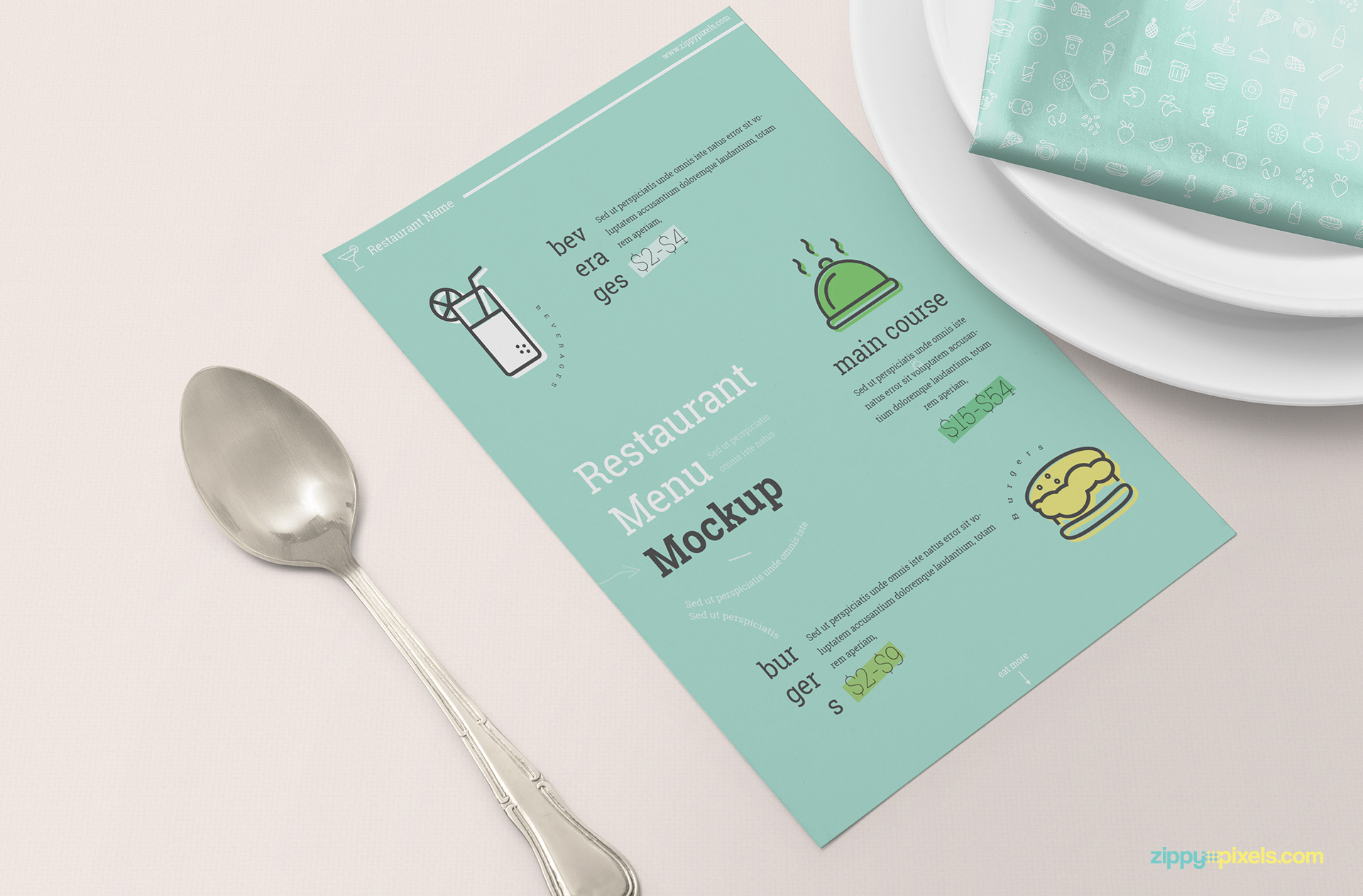 Fully customizable menu mockup scene.