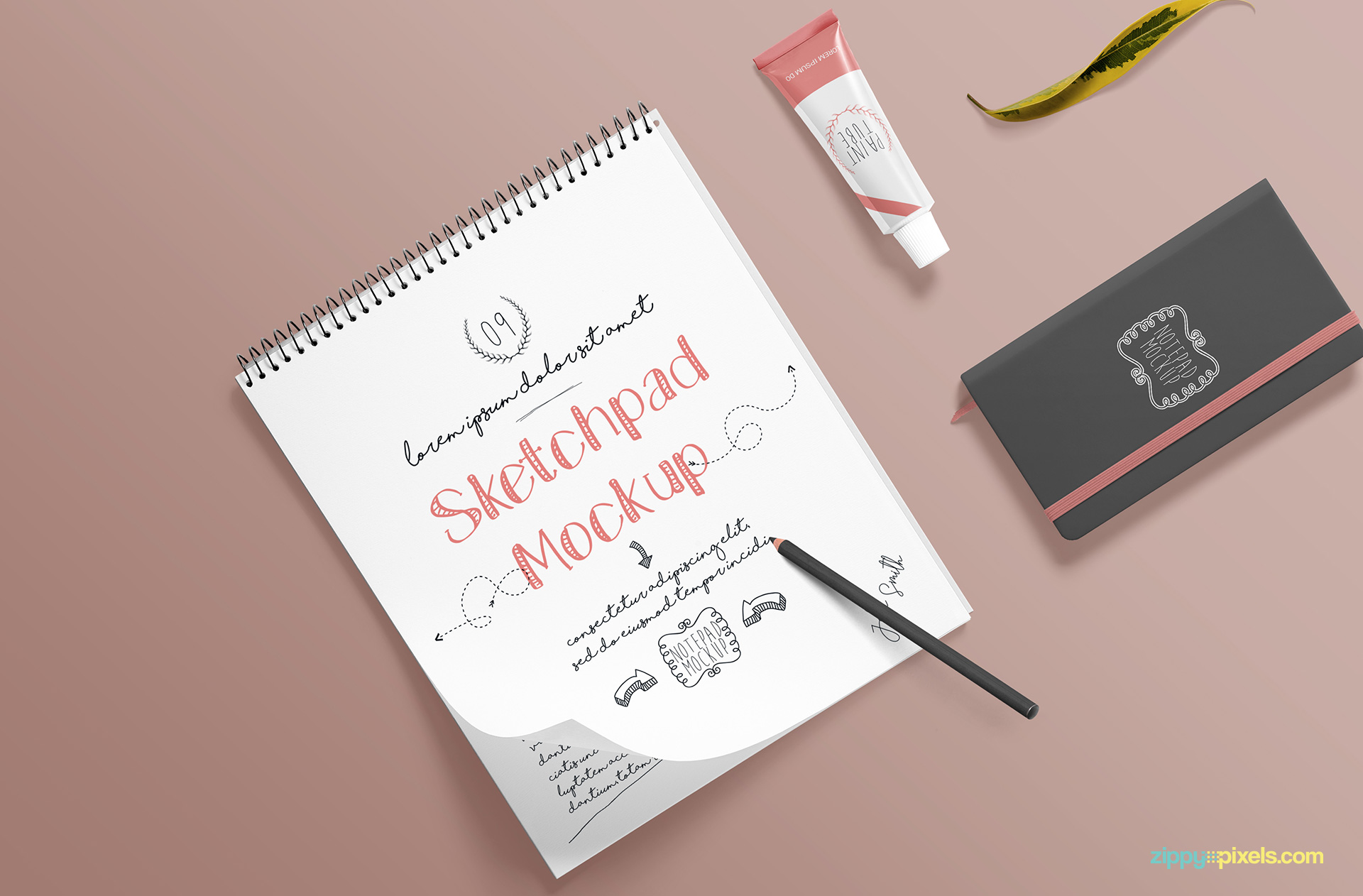 Fully customizable and free sketchbook mockup PSD scene.