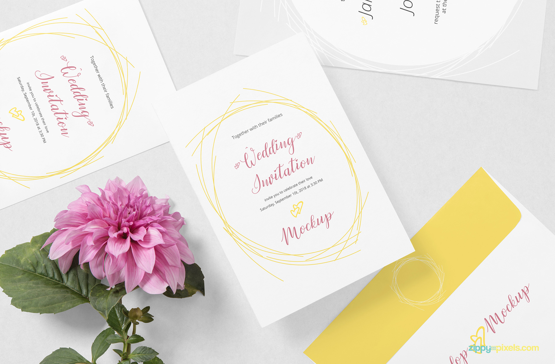 Free wedding card mockup PSD.