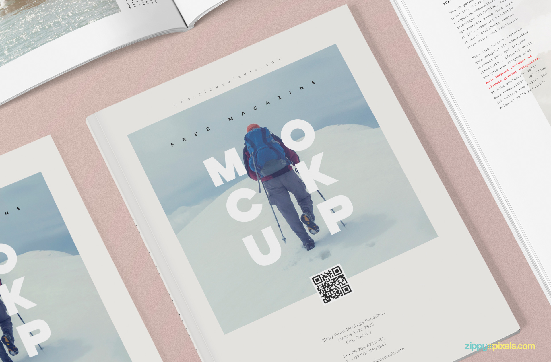 Front cover of the magazine mockup template.