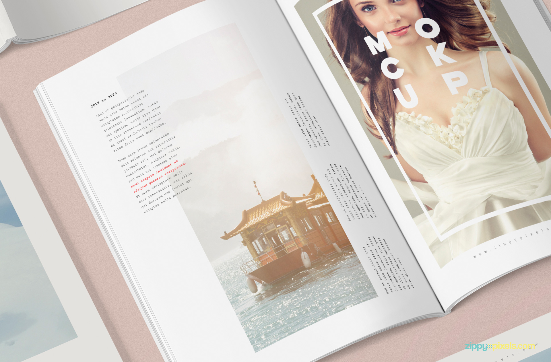 Internal pages of magazine mockup template.