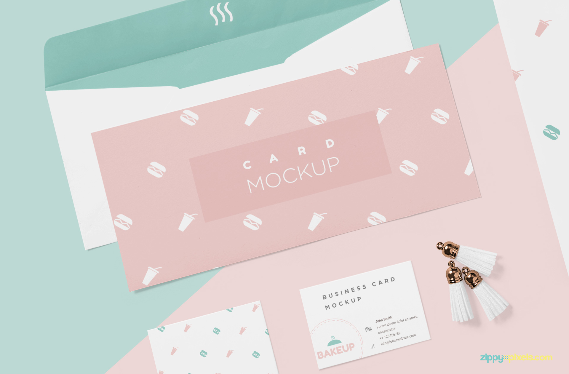 Free invitation card mockup with customizable envelope.