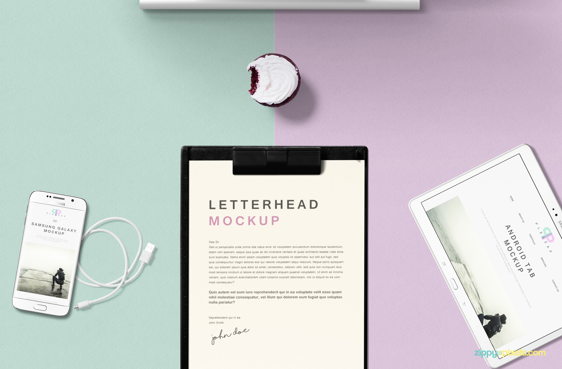 Letterhead mockup including mobile, tab, cupcake and wire.