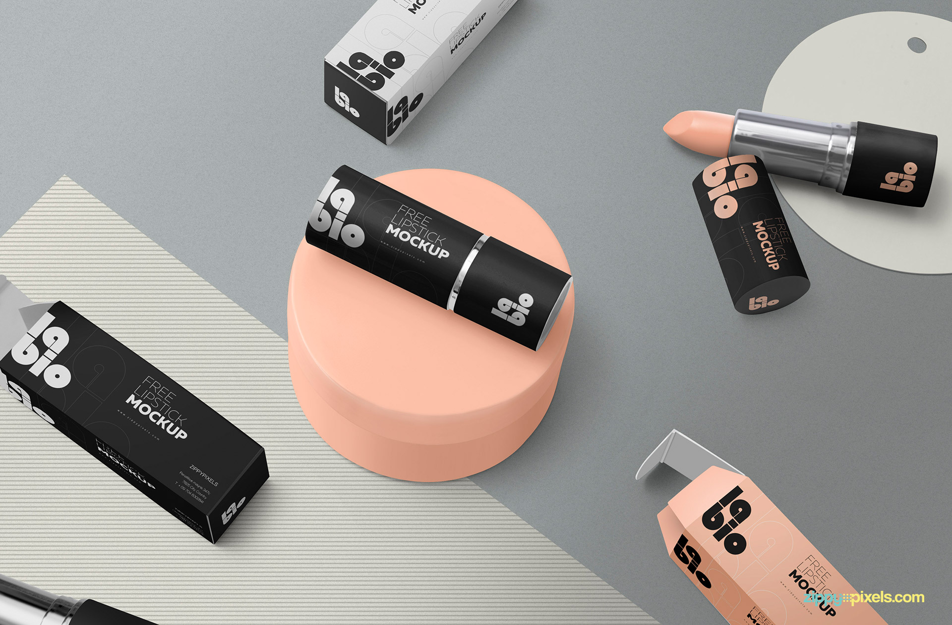 Free gorgeous lipstick packaging mockup scene.